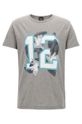 Camiseta relaxed fit en punto de algodón con estampado mixto, Gris