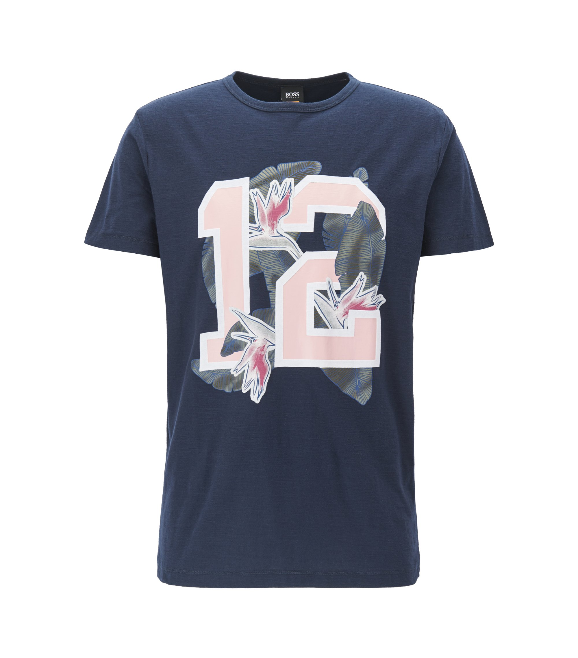 Relaxed-fit cotton jersey T-shirt with mixed graphic print, Dark Blue
