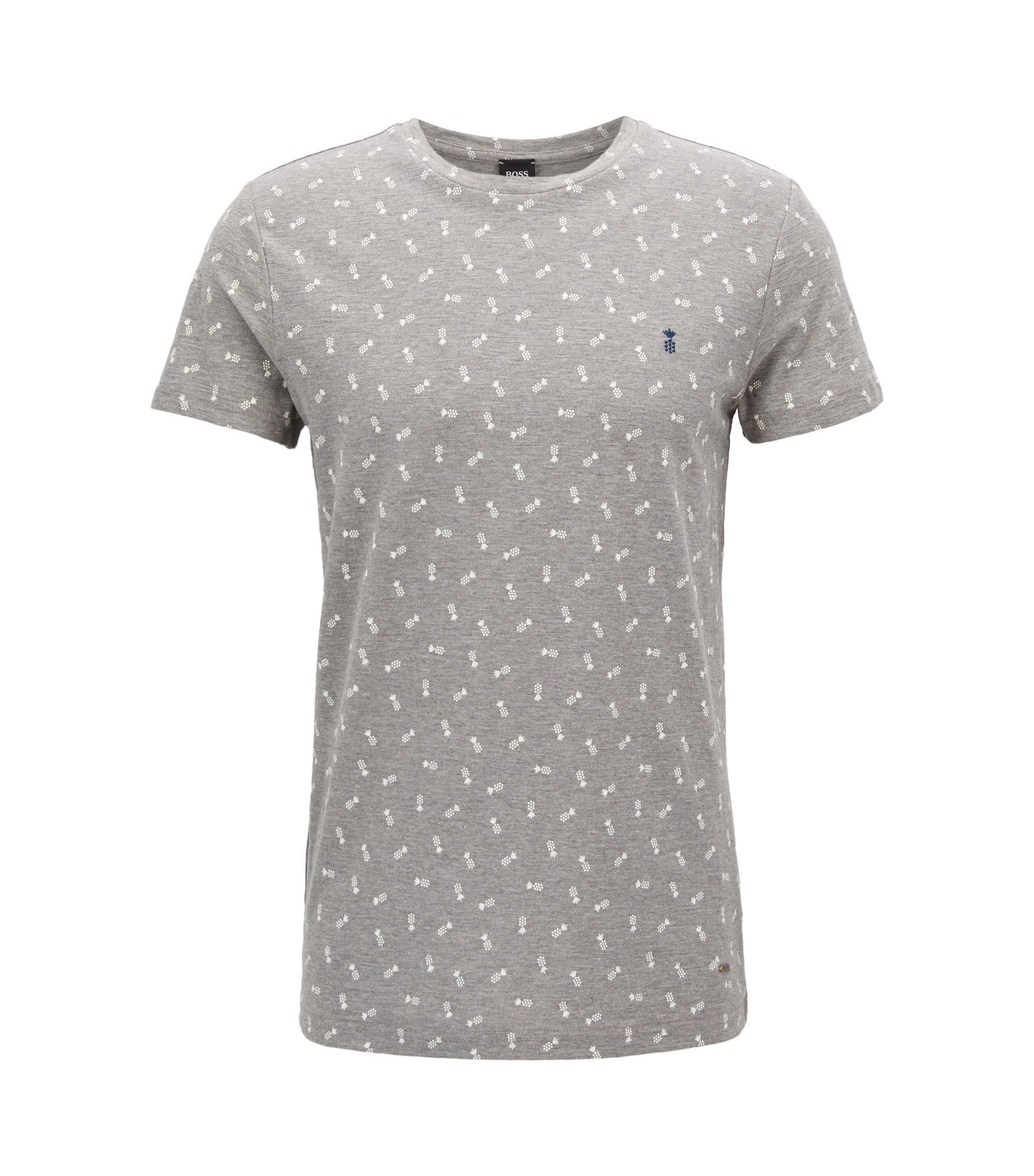 Micro-pattern cotton T-shirt in a regular fit, Light Grey
