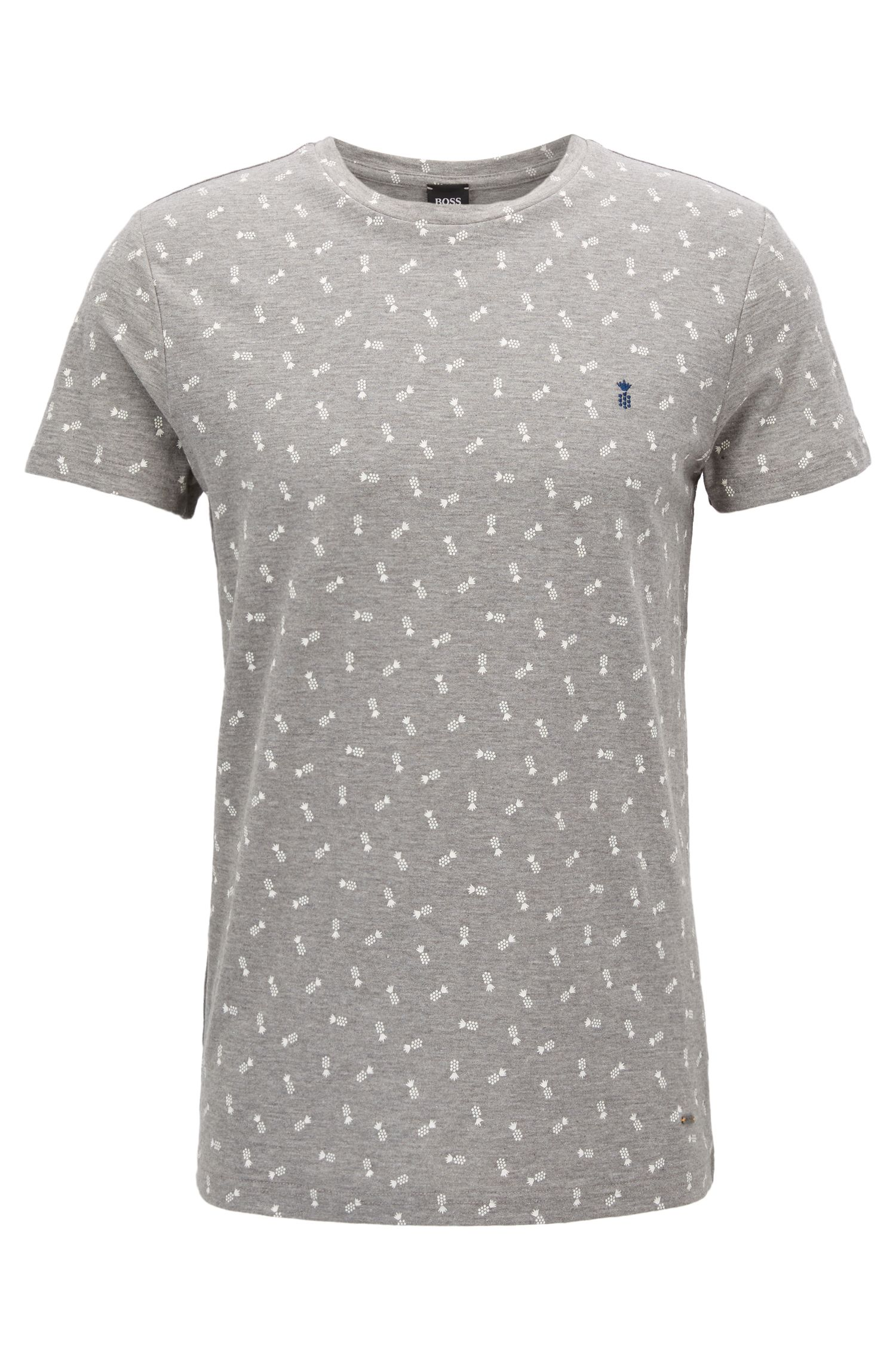 Micro-pattern cotton T-shirt in a regular fit