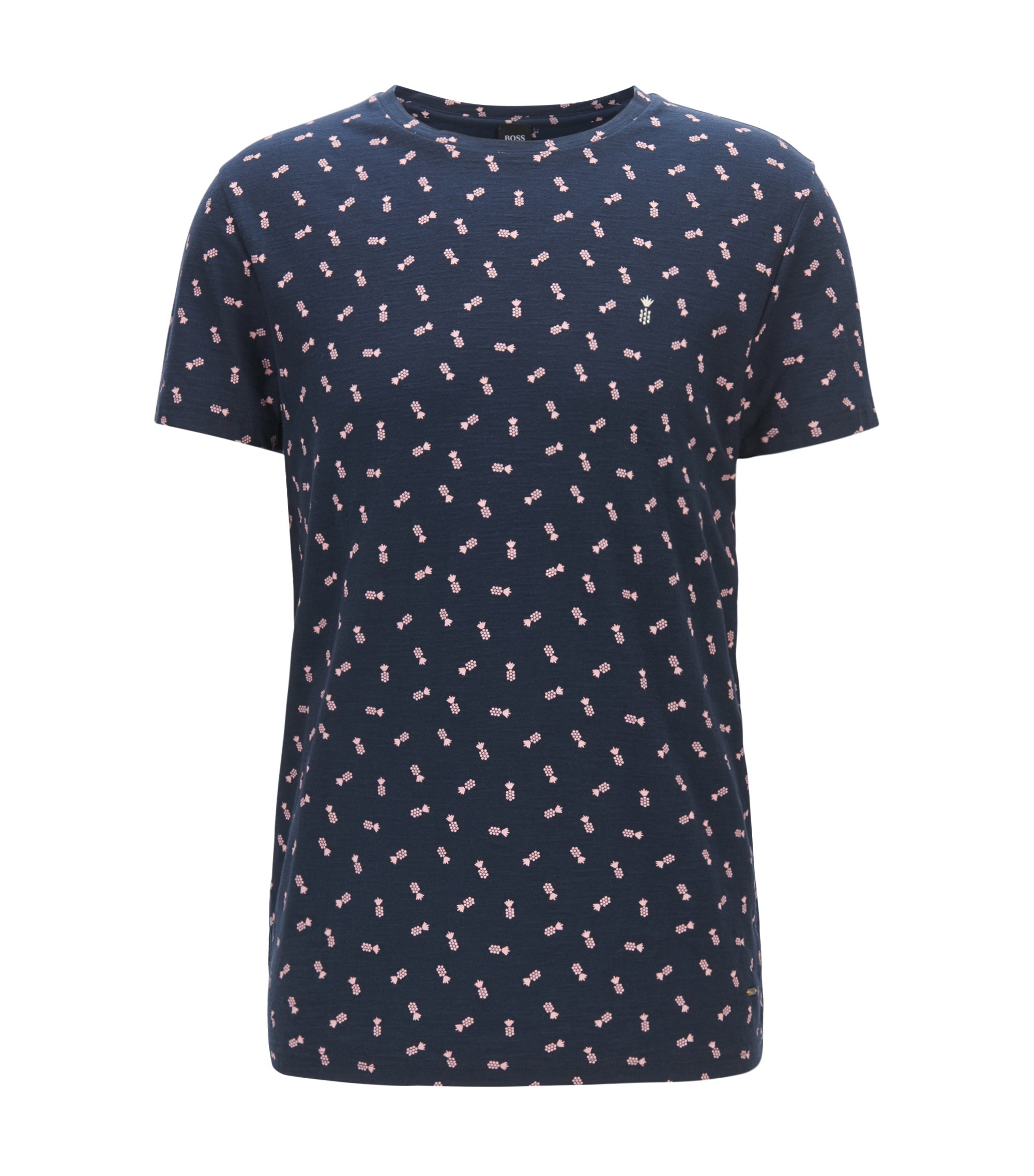 Micro-pattern cotton T-shirt in a regular fit, Dark Blue