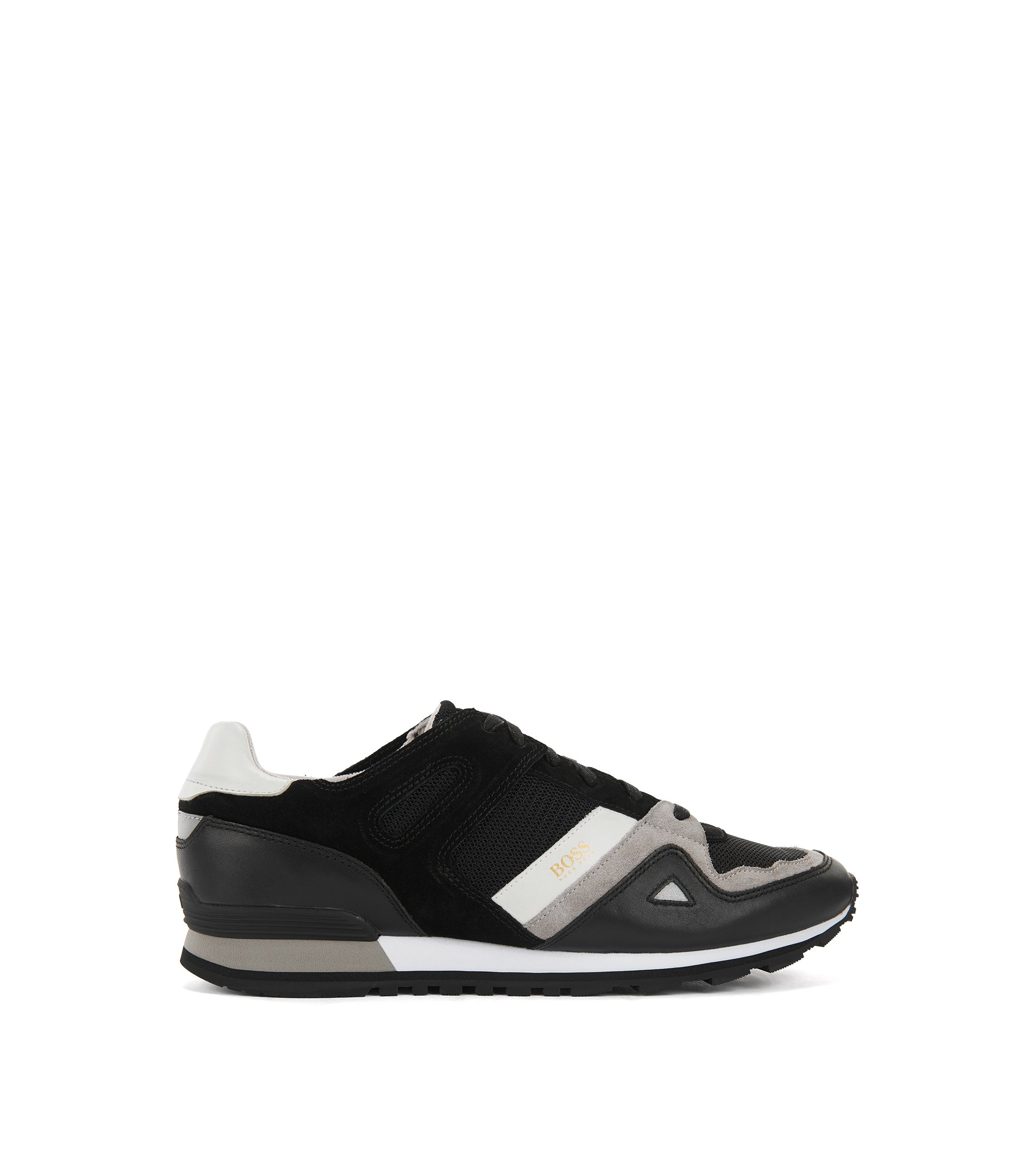 Sneakers stringate con rivestimenti in pelle, Nero