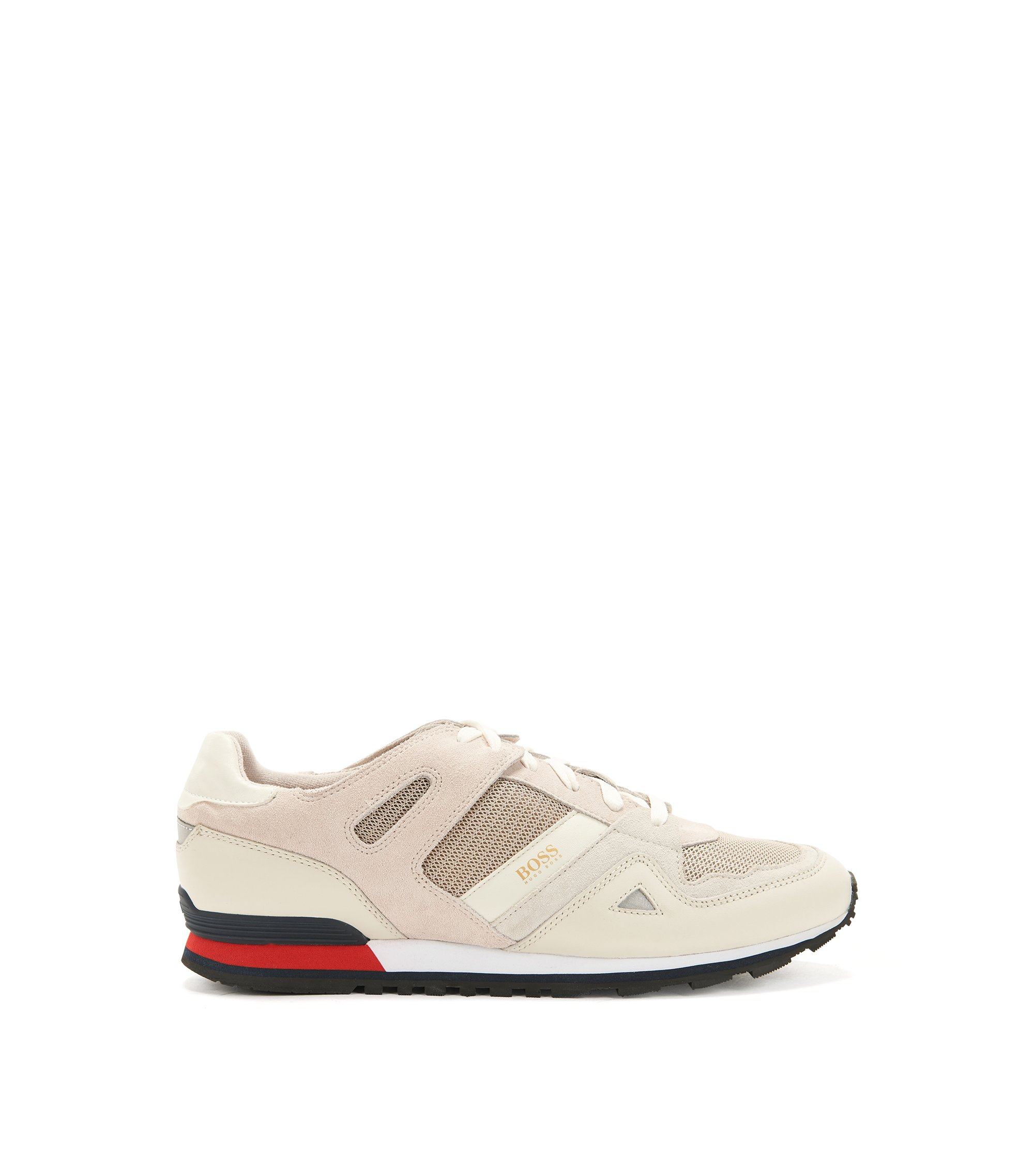 Lace-up trainers with leather overlays, Light Grey