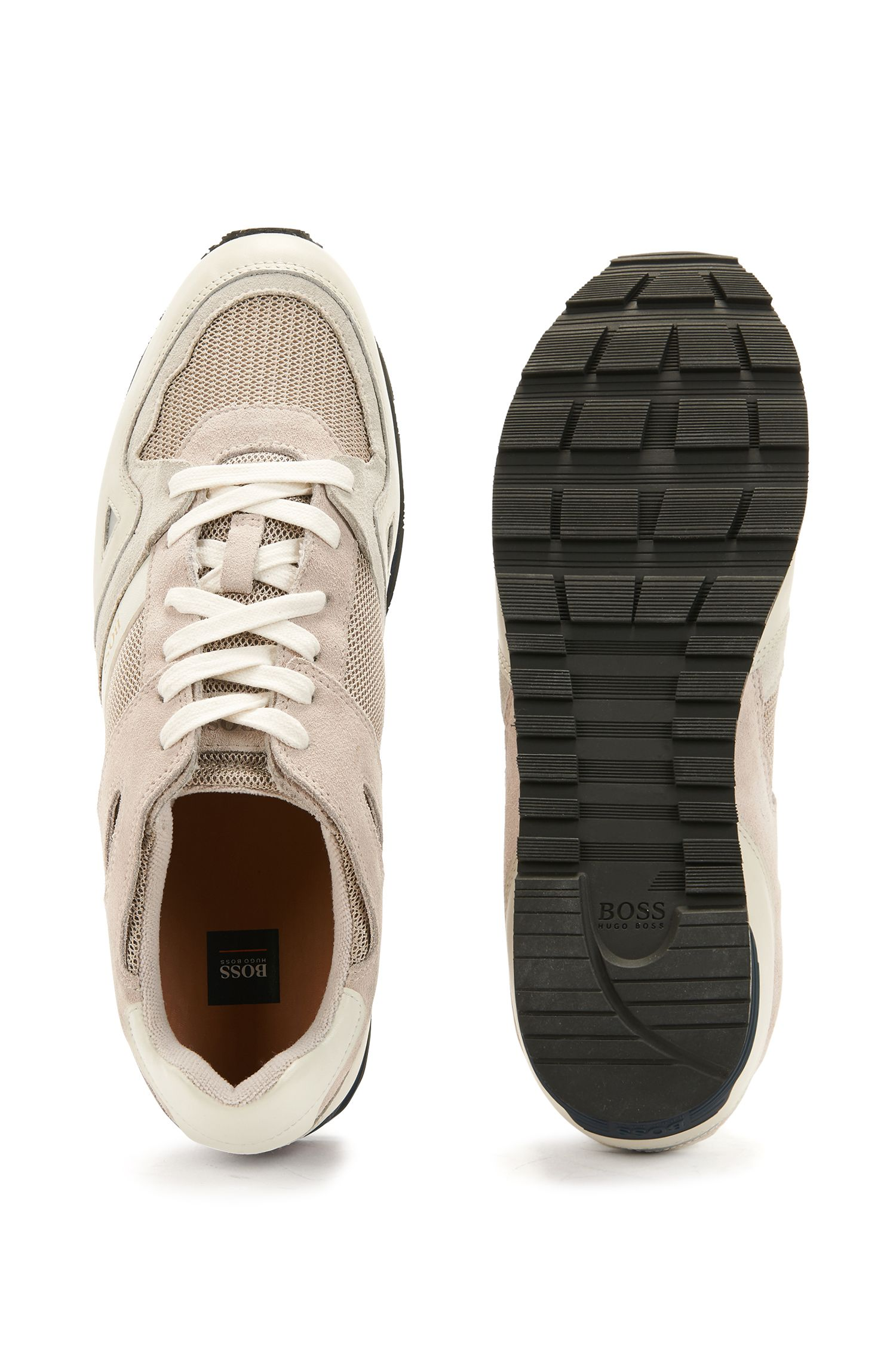 Lace-up trainers with leather overlays