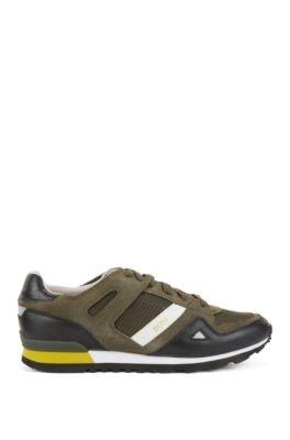 Sneakers stringate con rivestimenti in pelle, Verde scuro