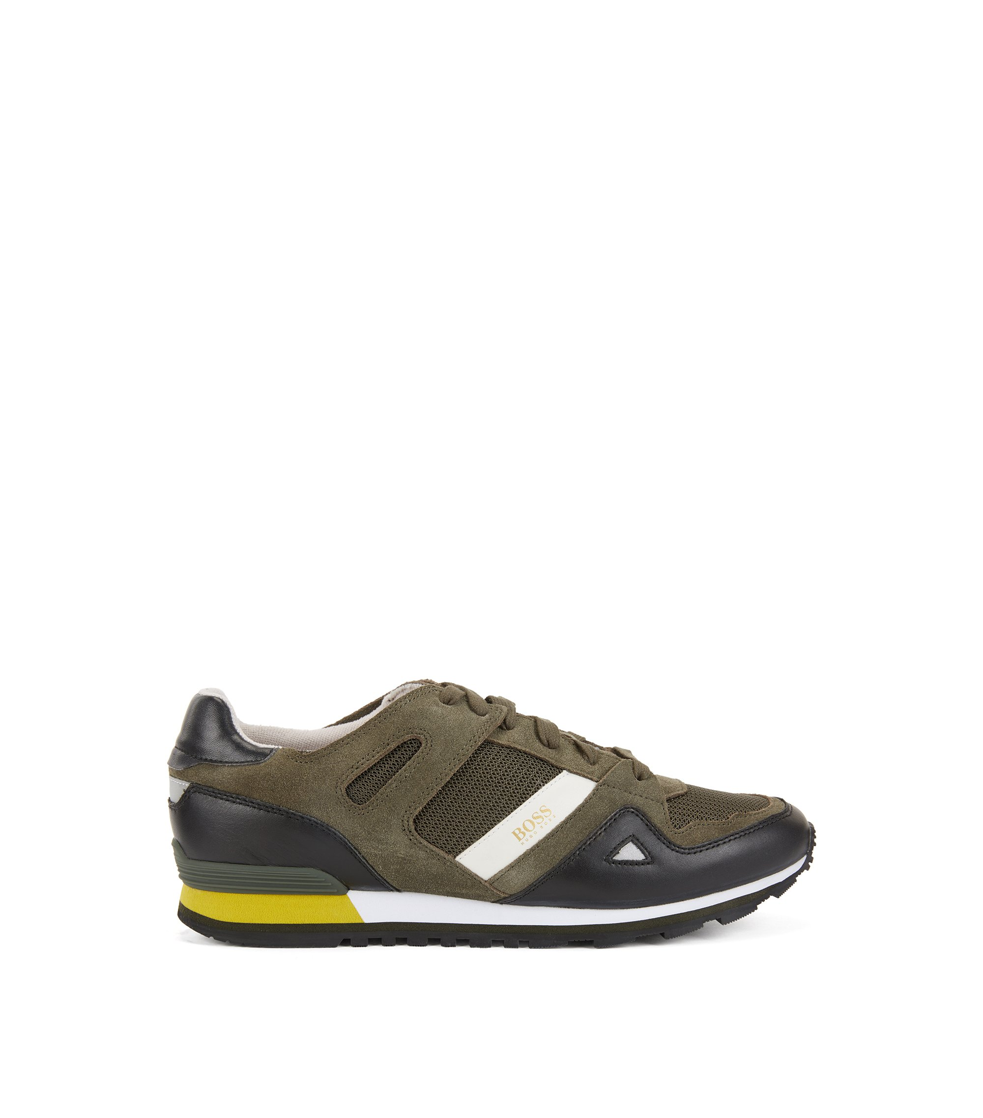 Lace-up trainers with leather overlays, Dark Green