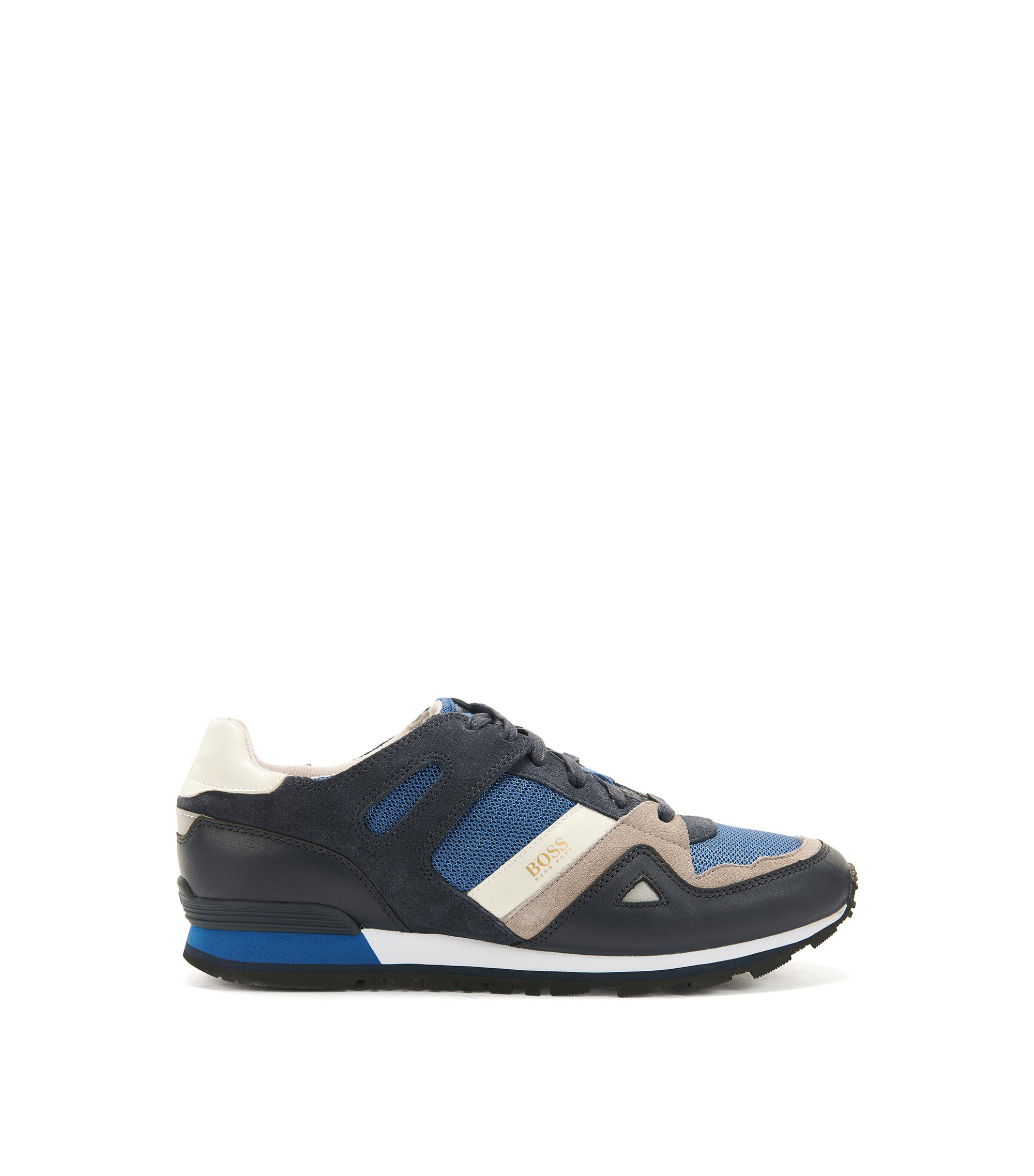 Sneakers stringate con rivestimenti in pelle, Blue Scuro