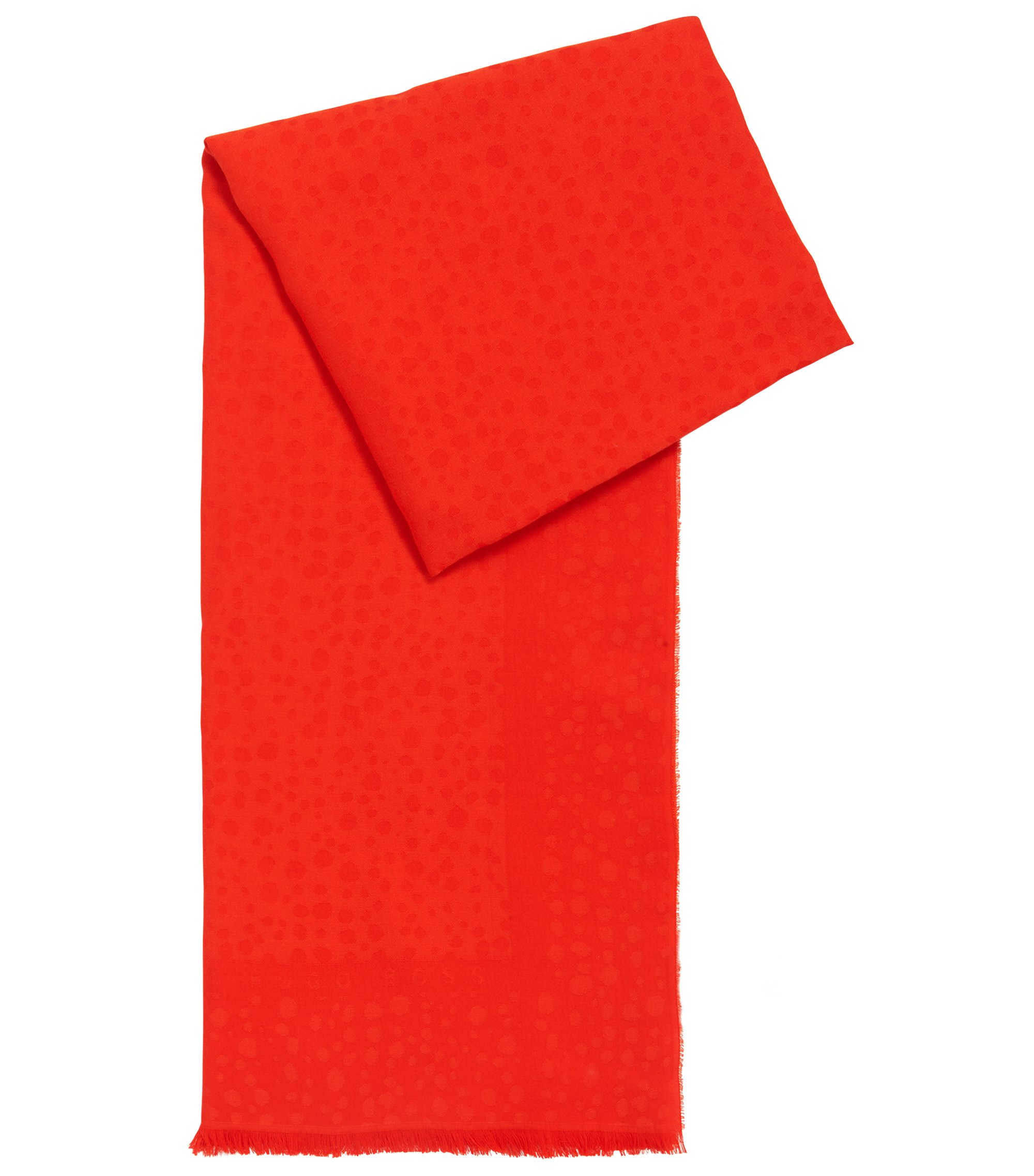 Cotton-blend jacquard scarf with raw edges, Red