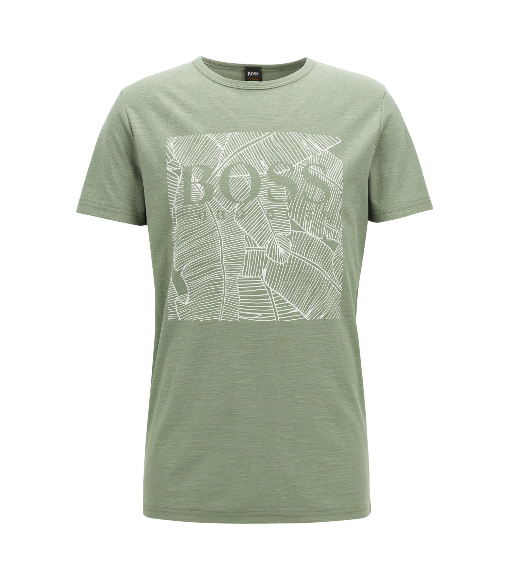 Relaxed-fit graphic T-shirt in slub cotton, Light Green
