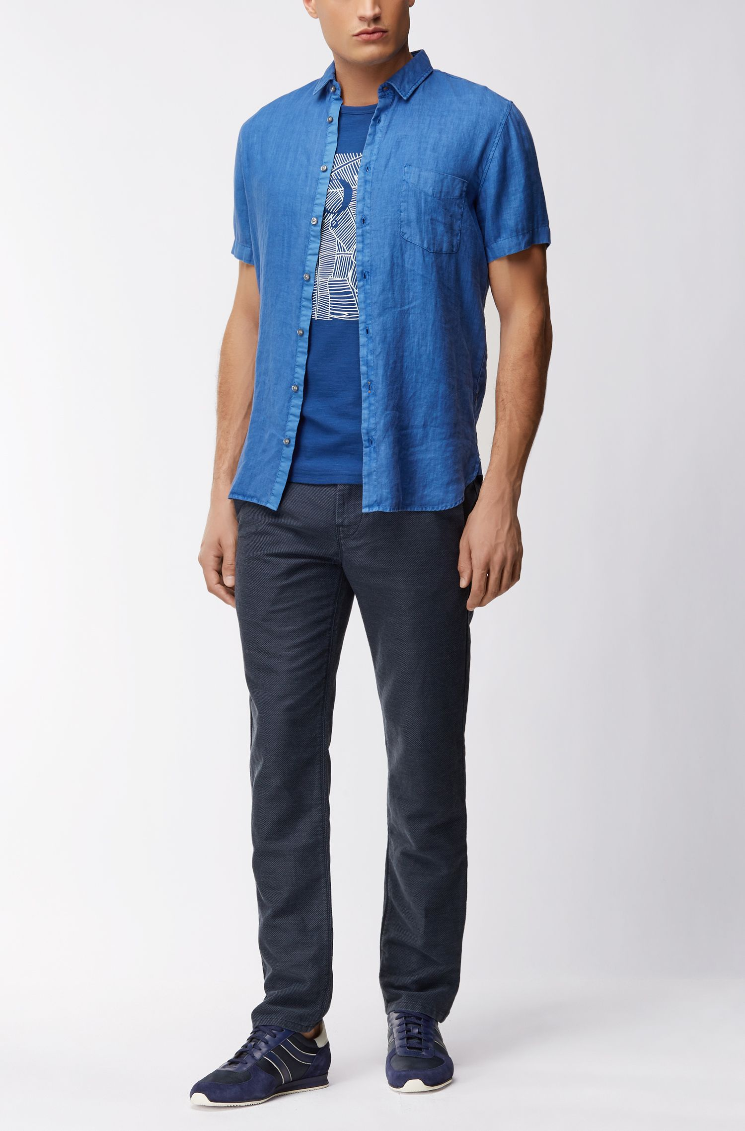 T-Shirt aus strukturierter Baumwolle mit Grafik-Print
