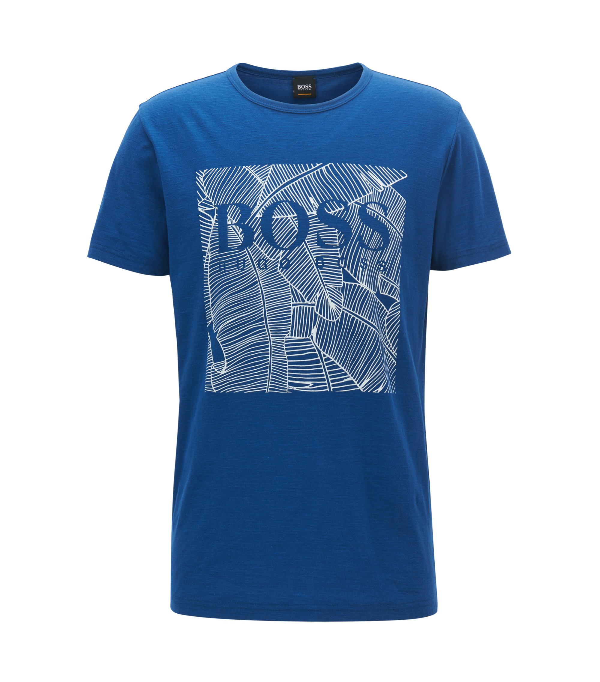 Relaxed-fit graphic T-shirt in slub cotton, Blue