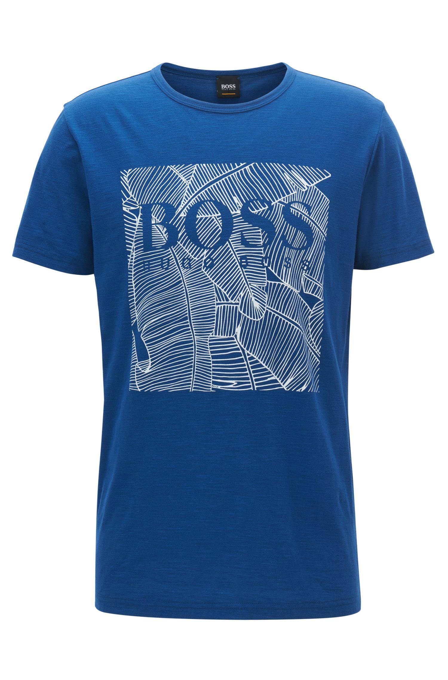 Camiseta relaxed fit con estampado gráfico en algodón flameado