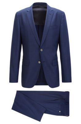 Slim-fit kostuum van een scheerwolmix, Blauw