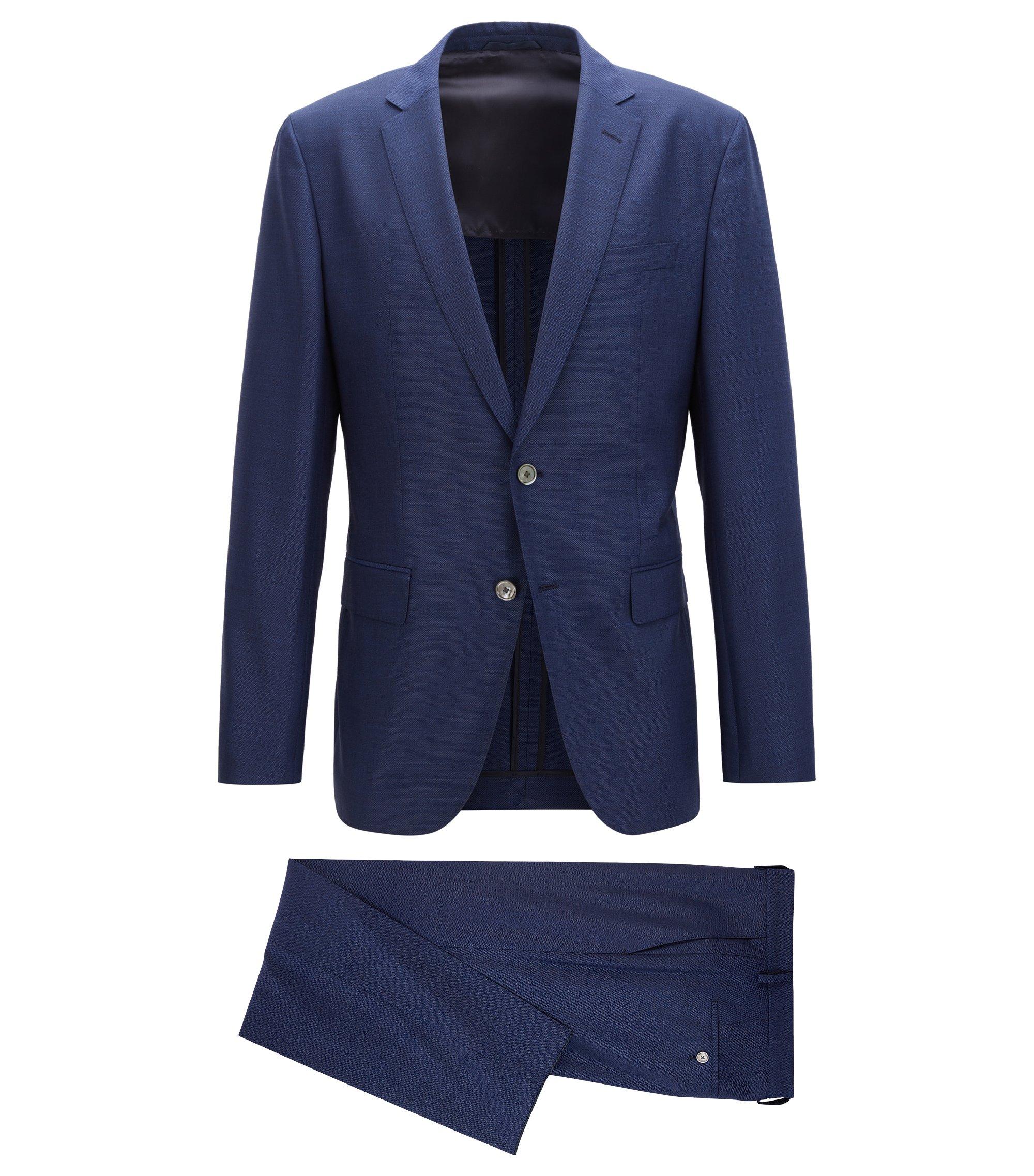 Slim-fit suit in a virgin wool blend, Blue