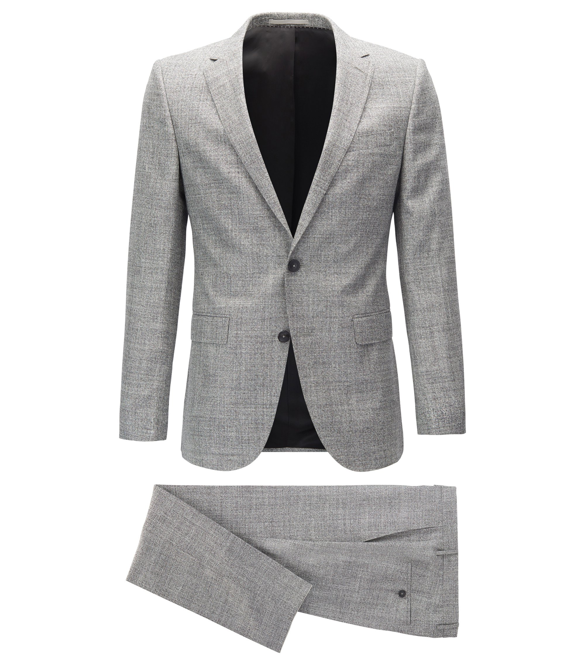 Slim-fit suit in midweight mélange fabric, Grey
