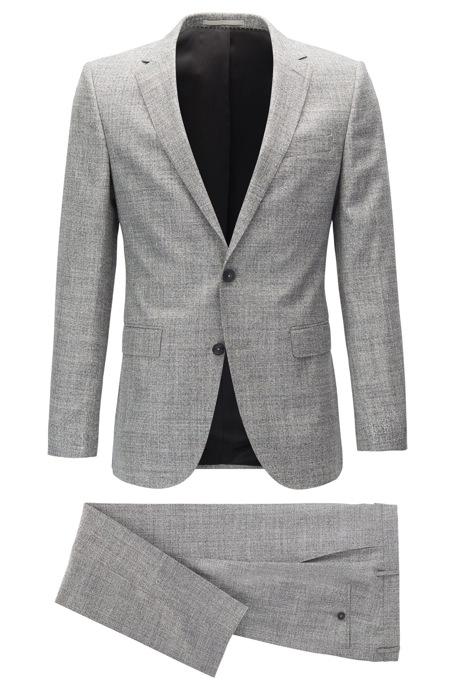 Slim-fit suit in midweight mélange fabric