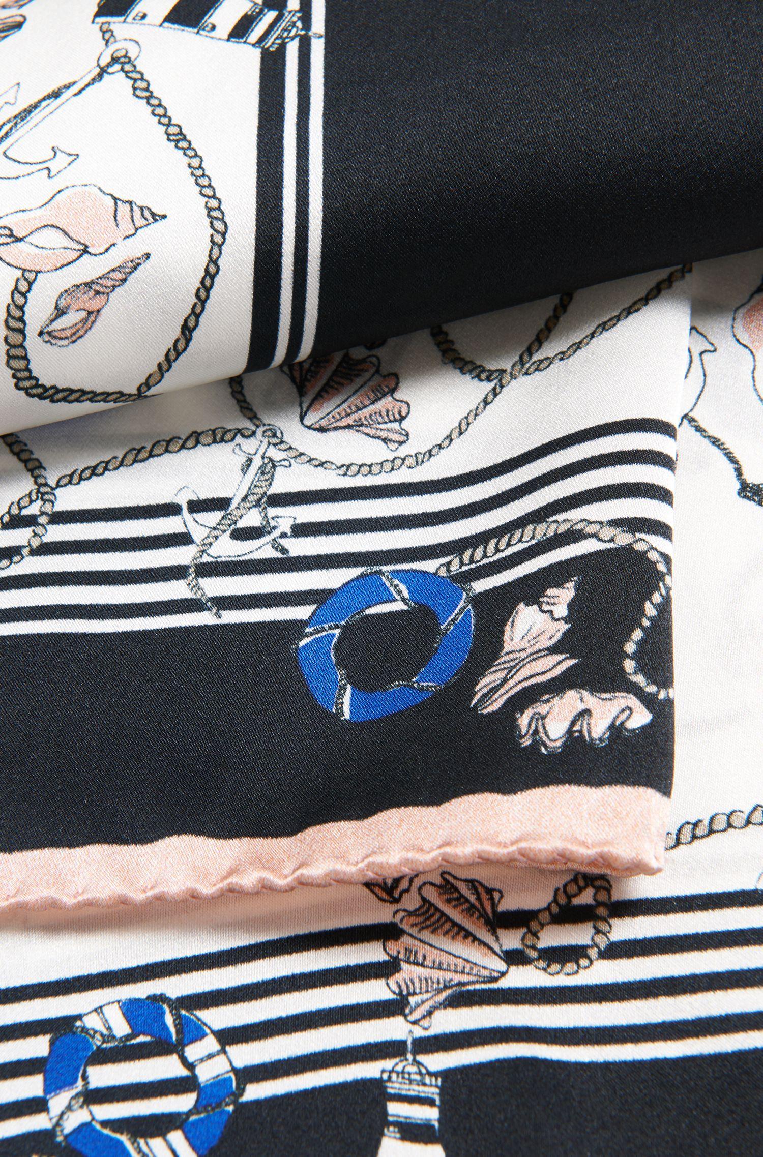 Pure-silk foulard scarf with nautical print