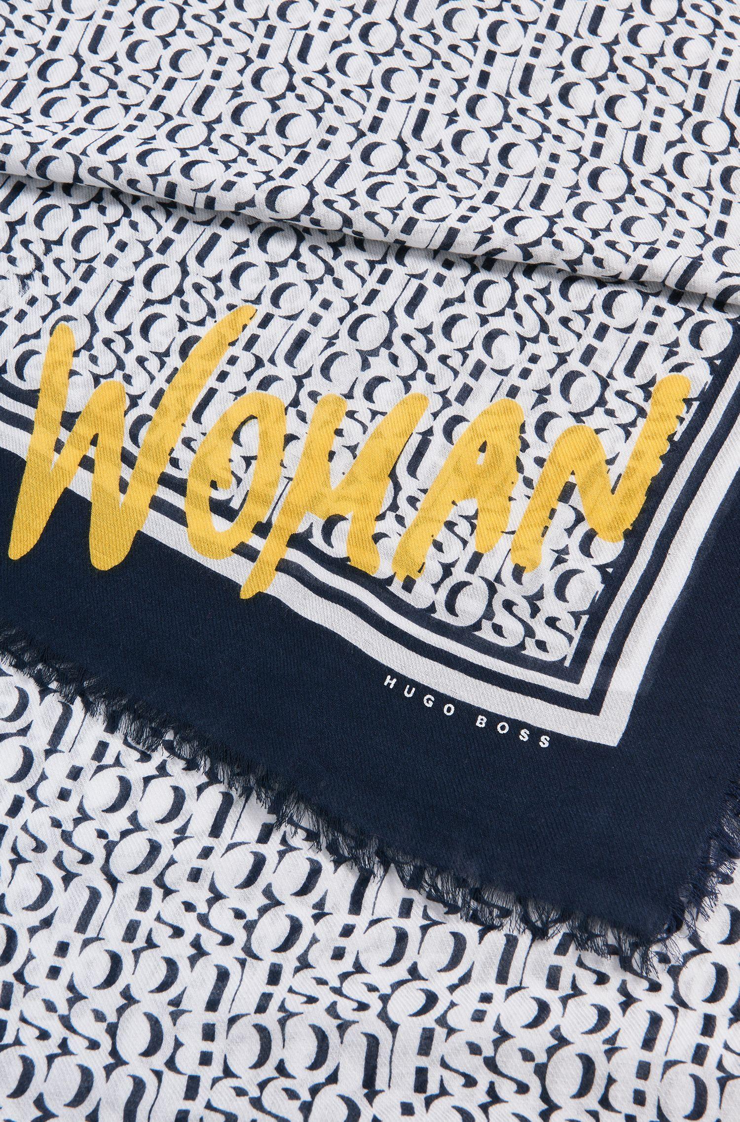 Écharpe bordée de franges en coton mélangé, à logo imprimé