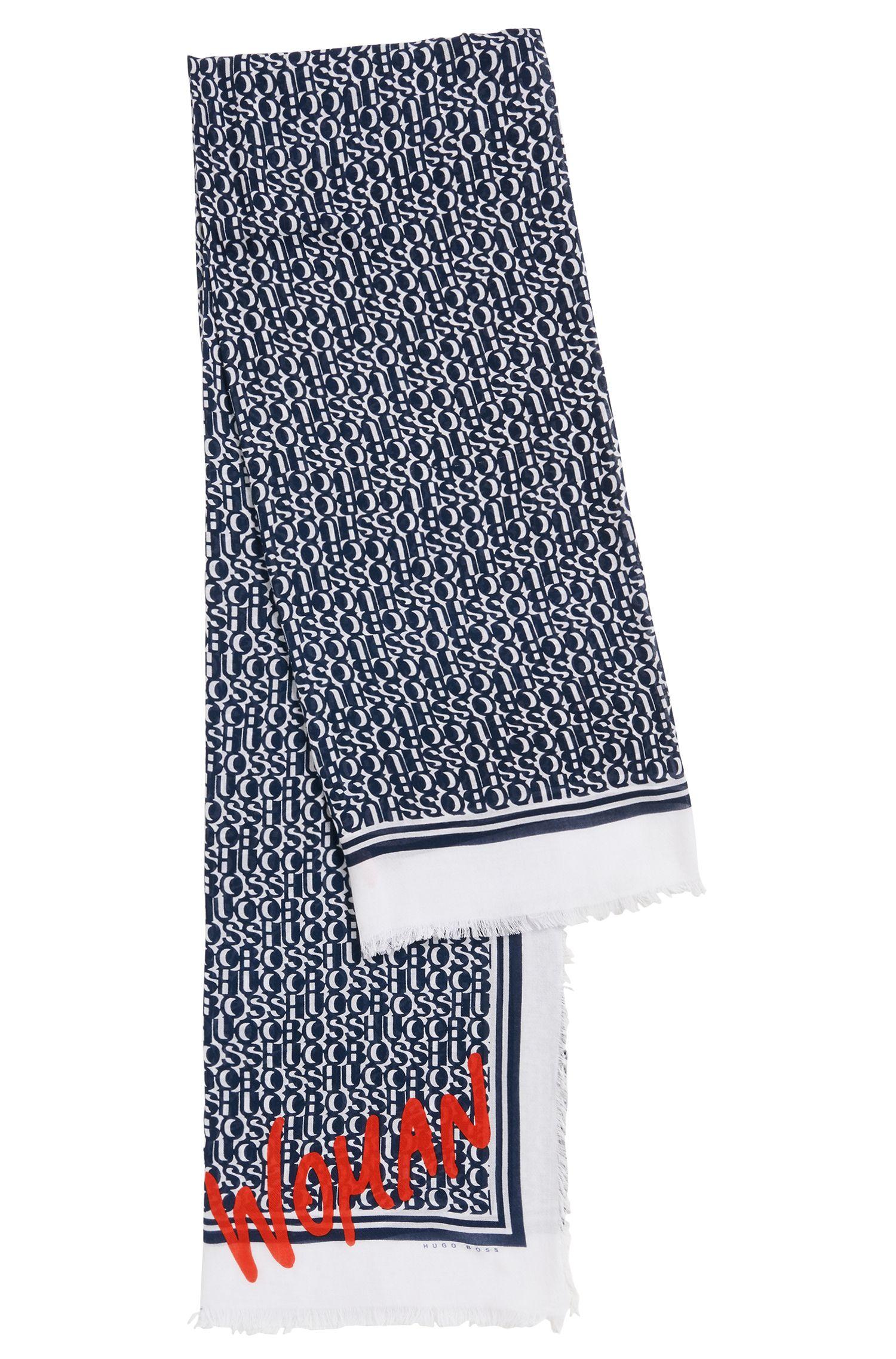 Sciarpa con frange in misto cotone con stampa del logo