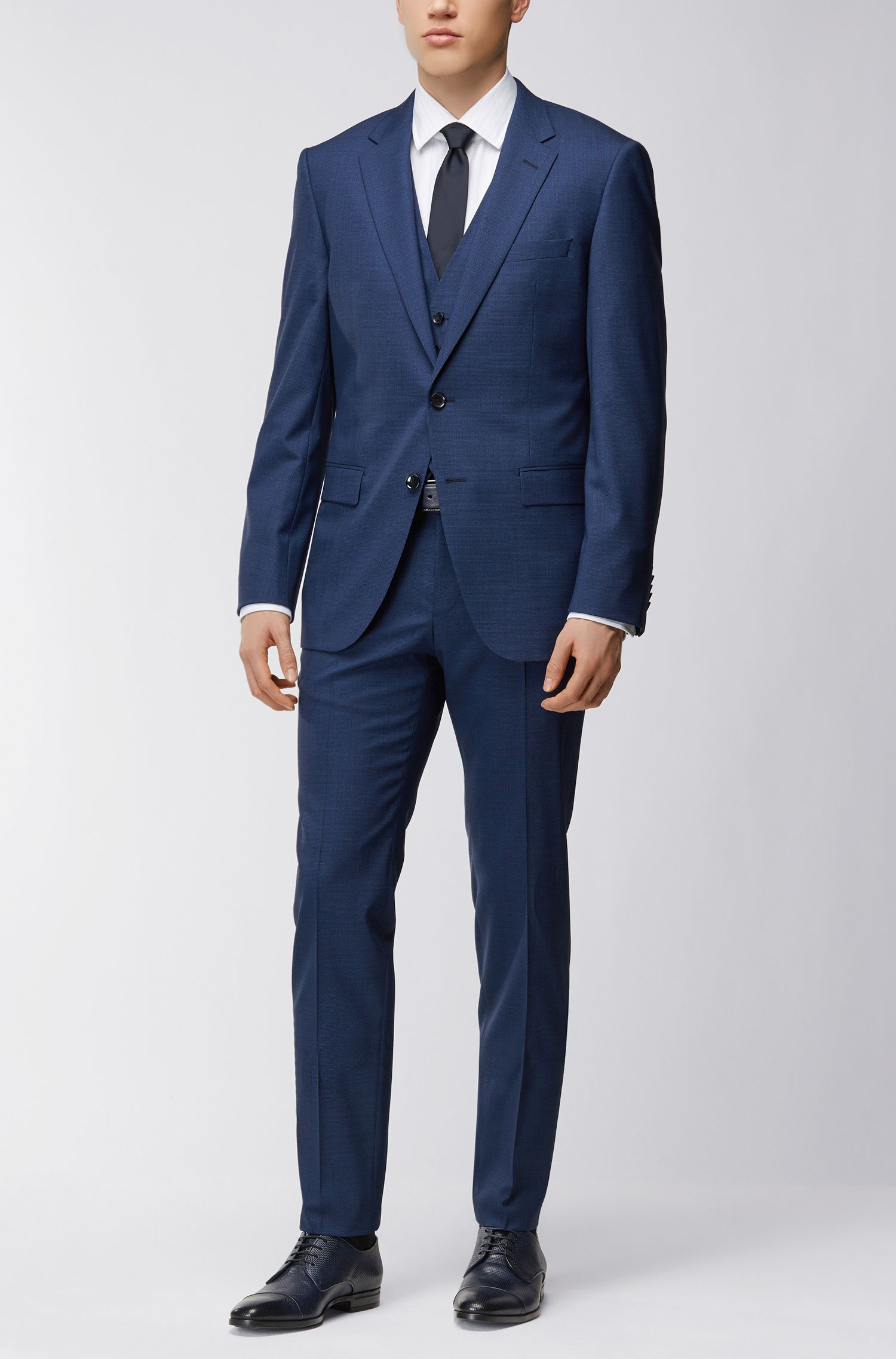 Micro-pattern slim-fit three-piece suit in virgin wool