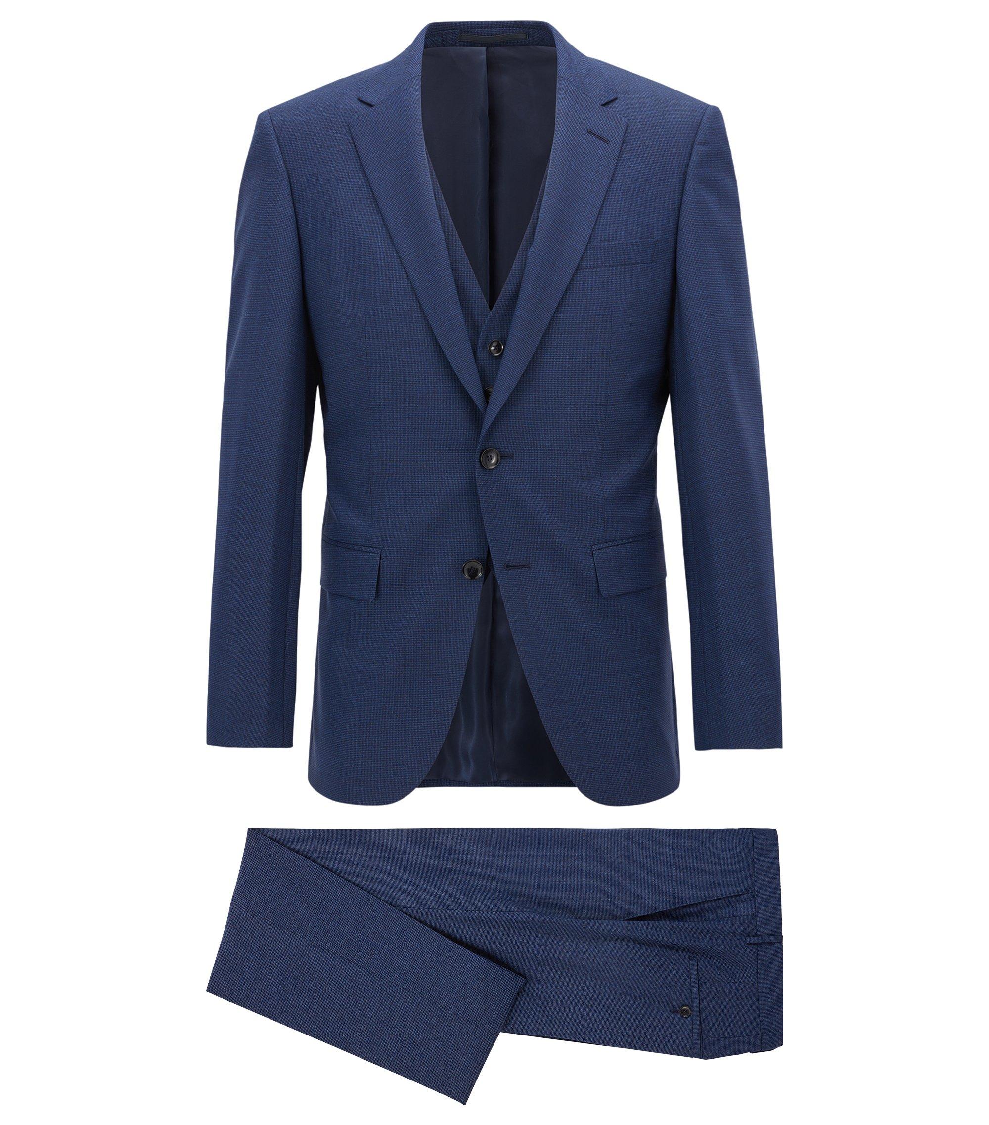 Costume trois pièces Slim Fit en laine vierge à micromotif, Bleu