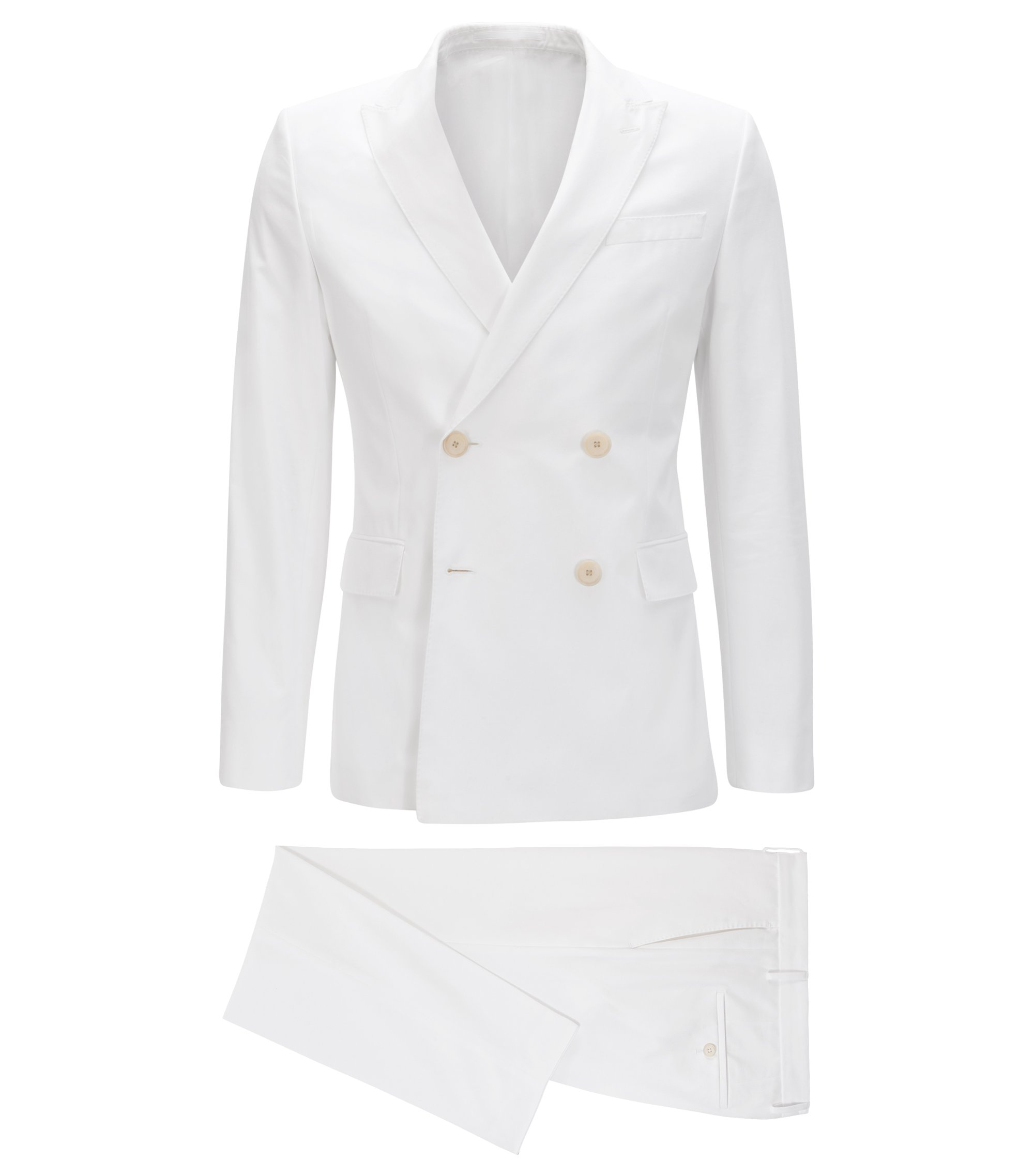 Slim-fit double-breasted suit in pure cotton, White