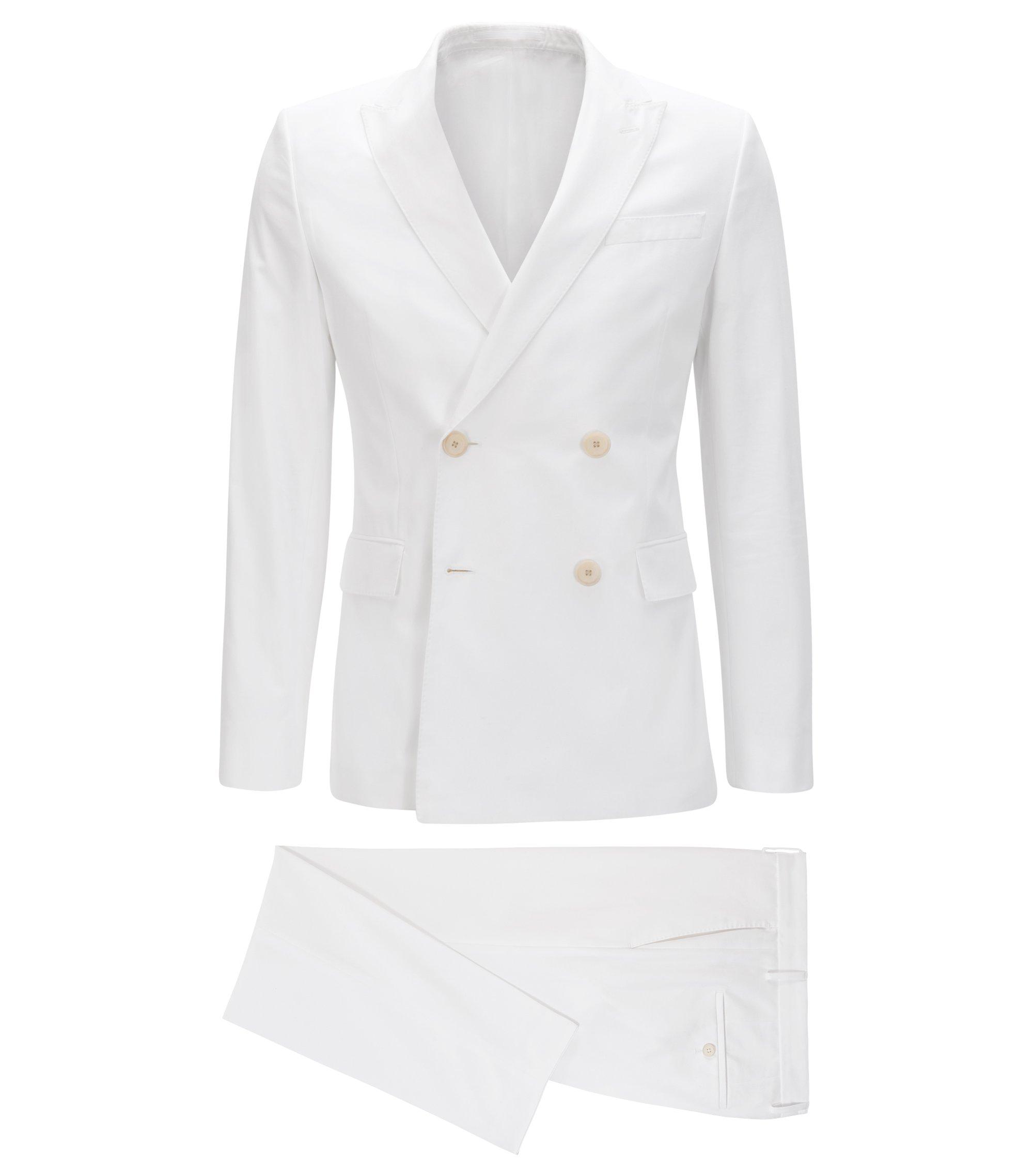 Costume Slim Fit croisé en pur coton, Blanc