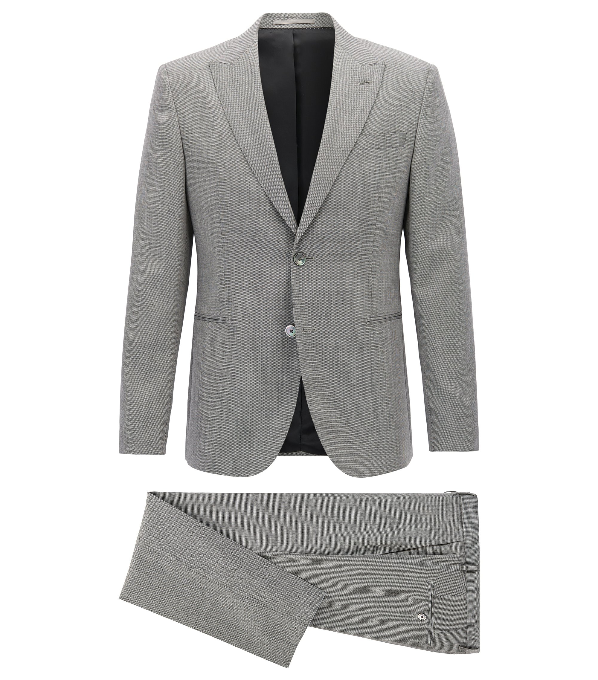 Slim-fit suit in a micro-pattern virgin wool, Grey