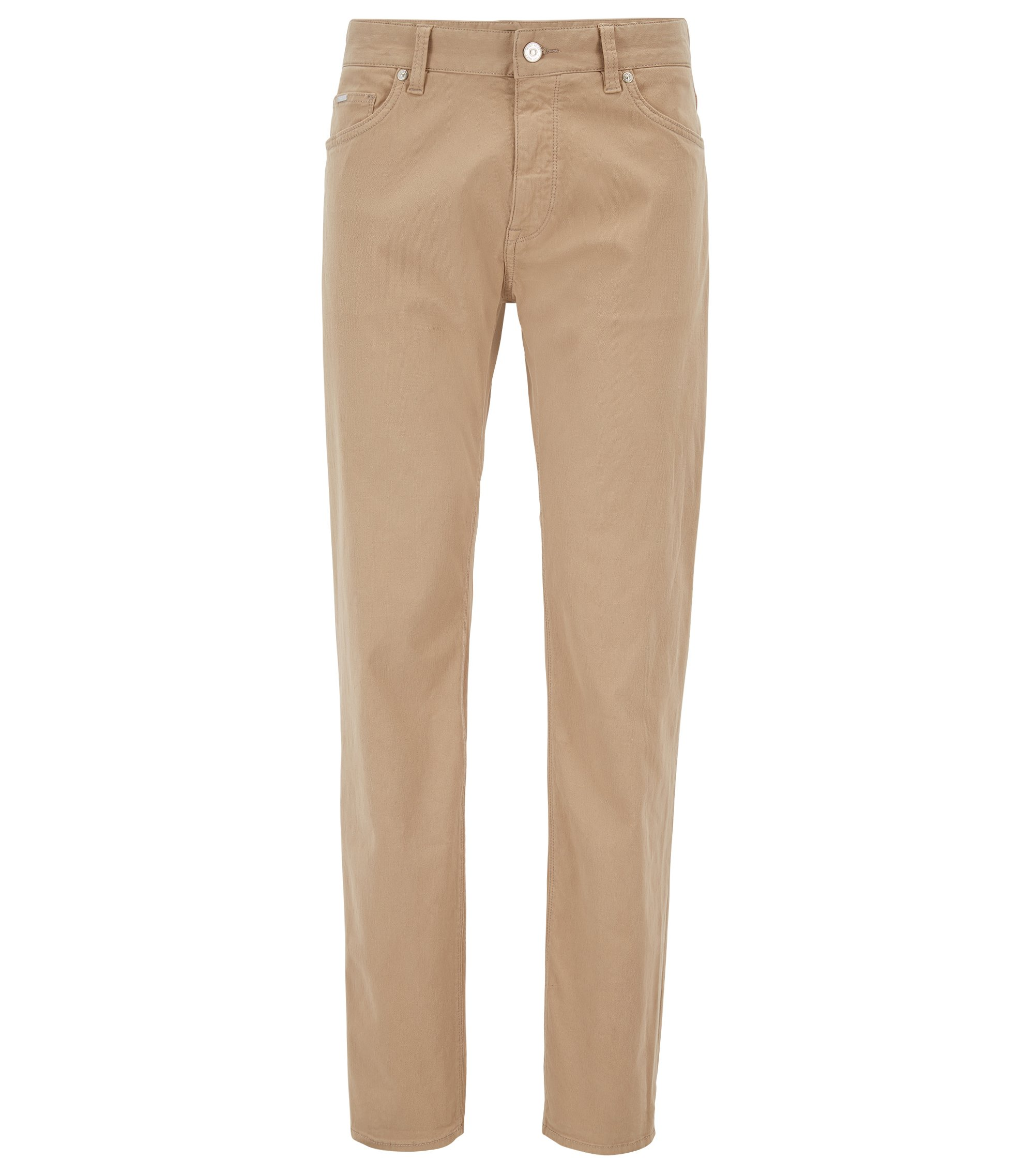 Jeans regular fit in denim ripstop elasticizzato, Beige