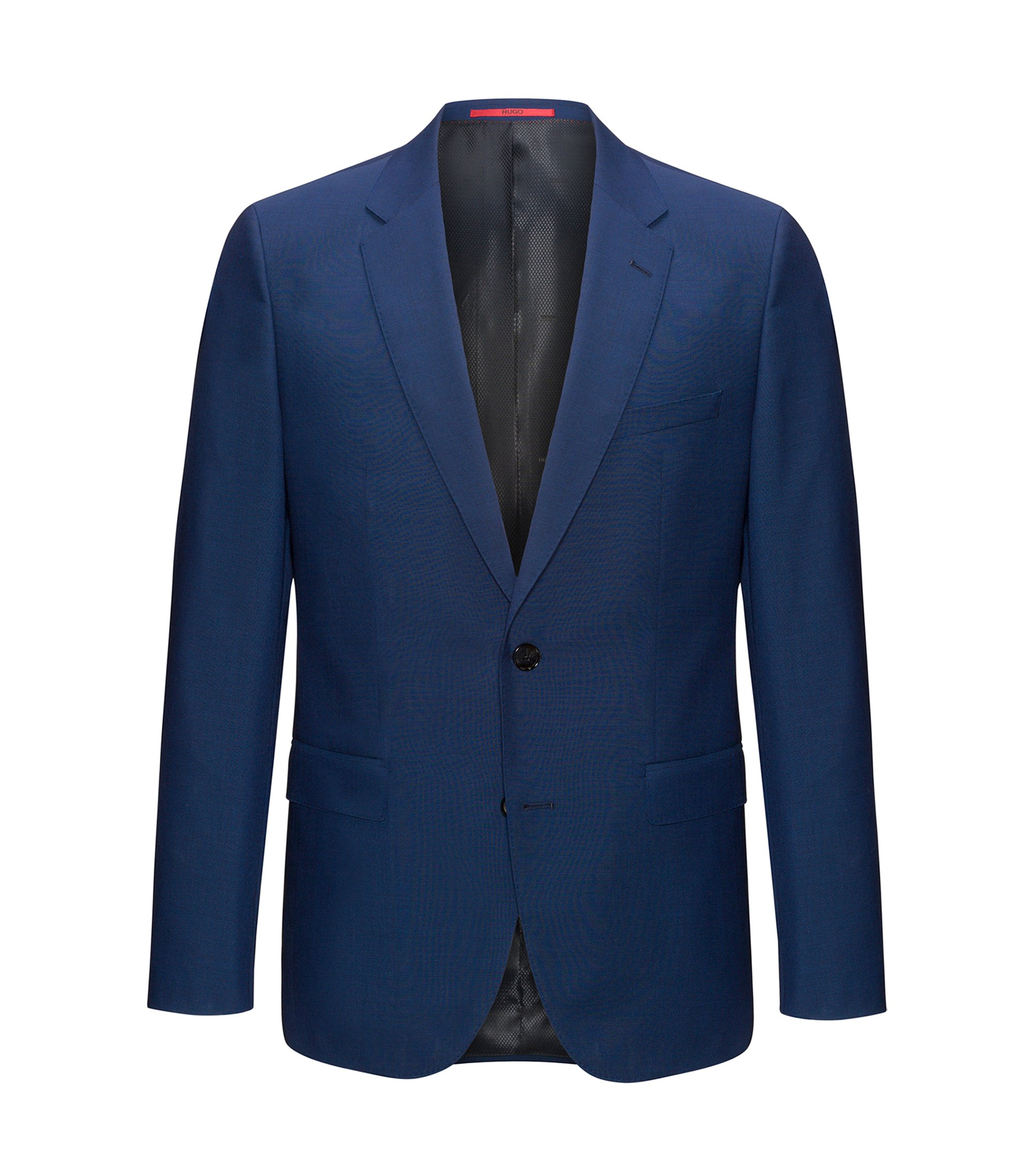 Regular-fit jacket in yarn-dyed virgin wool, Dark Blue