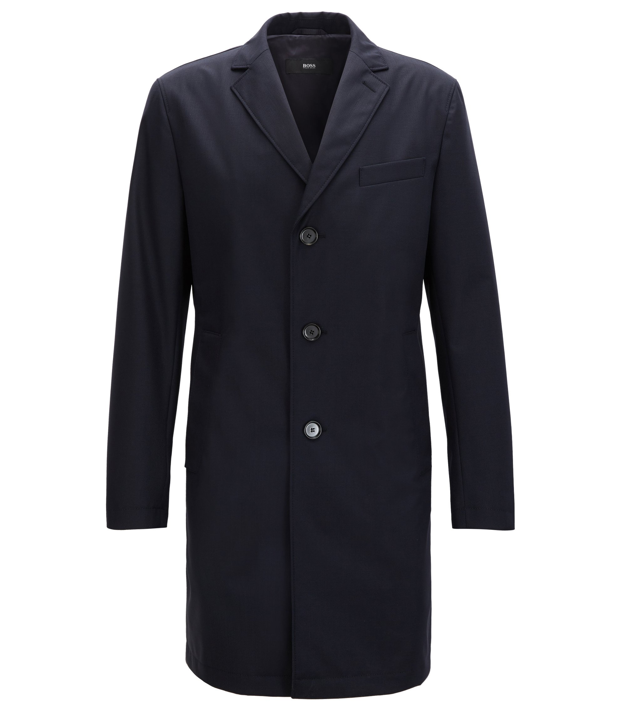 Slim-fit coat in water-repellent virgin wool, Dark Blue