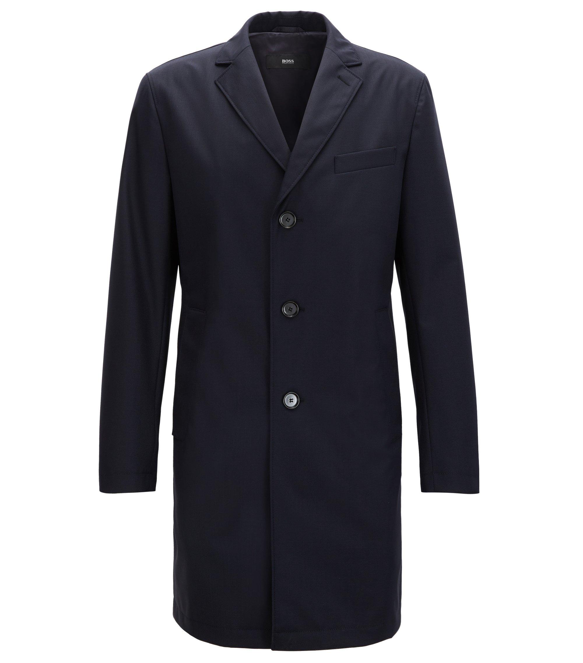 Manteau Slim Fit en laine vierge imperméable, Bleu foncé