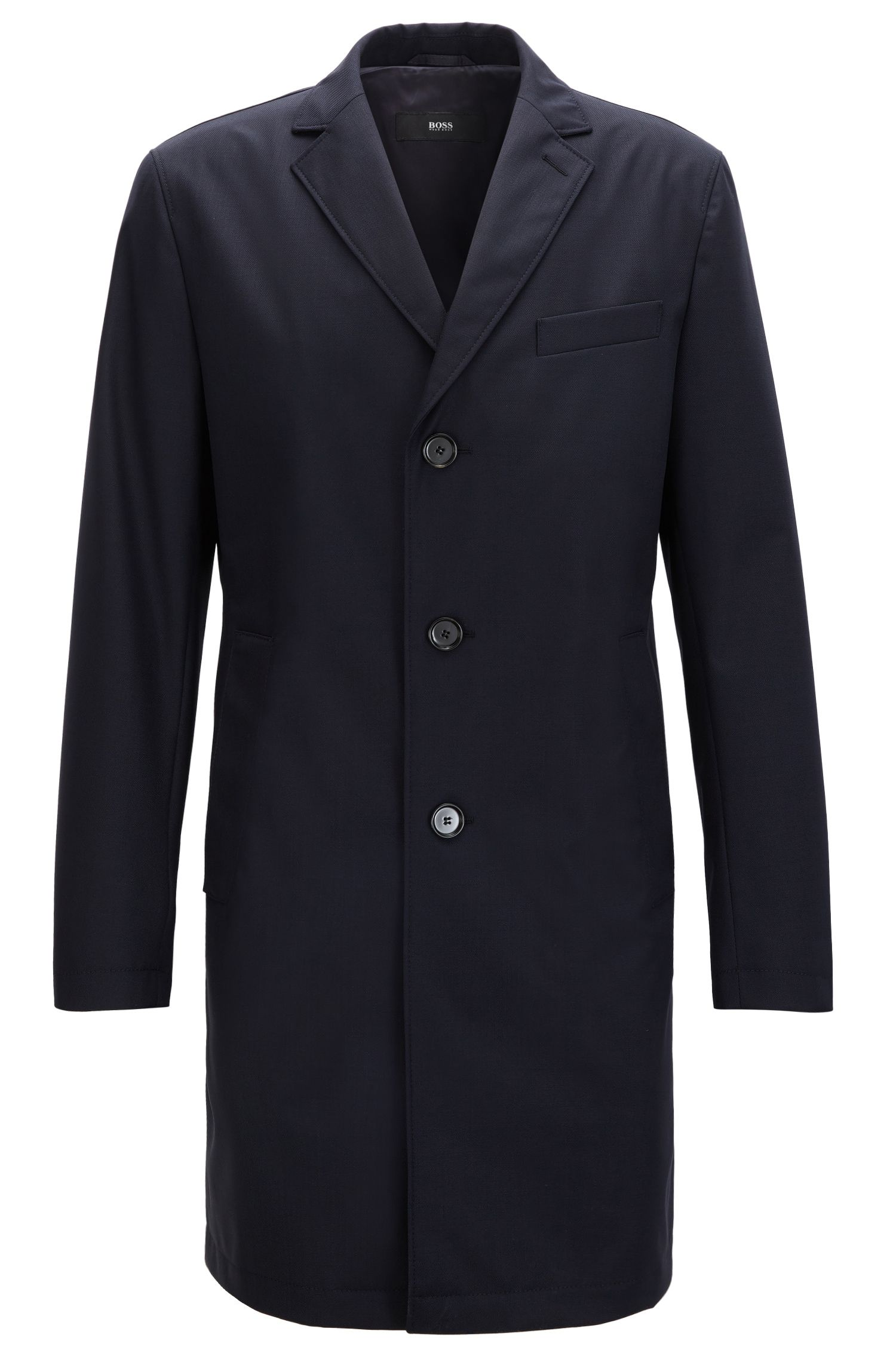 Slim-fit coat in water-repellent virgin wool