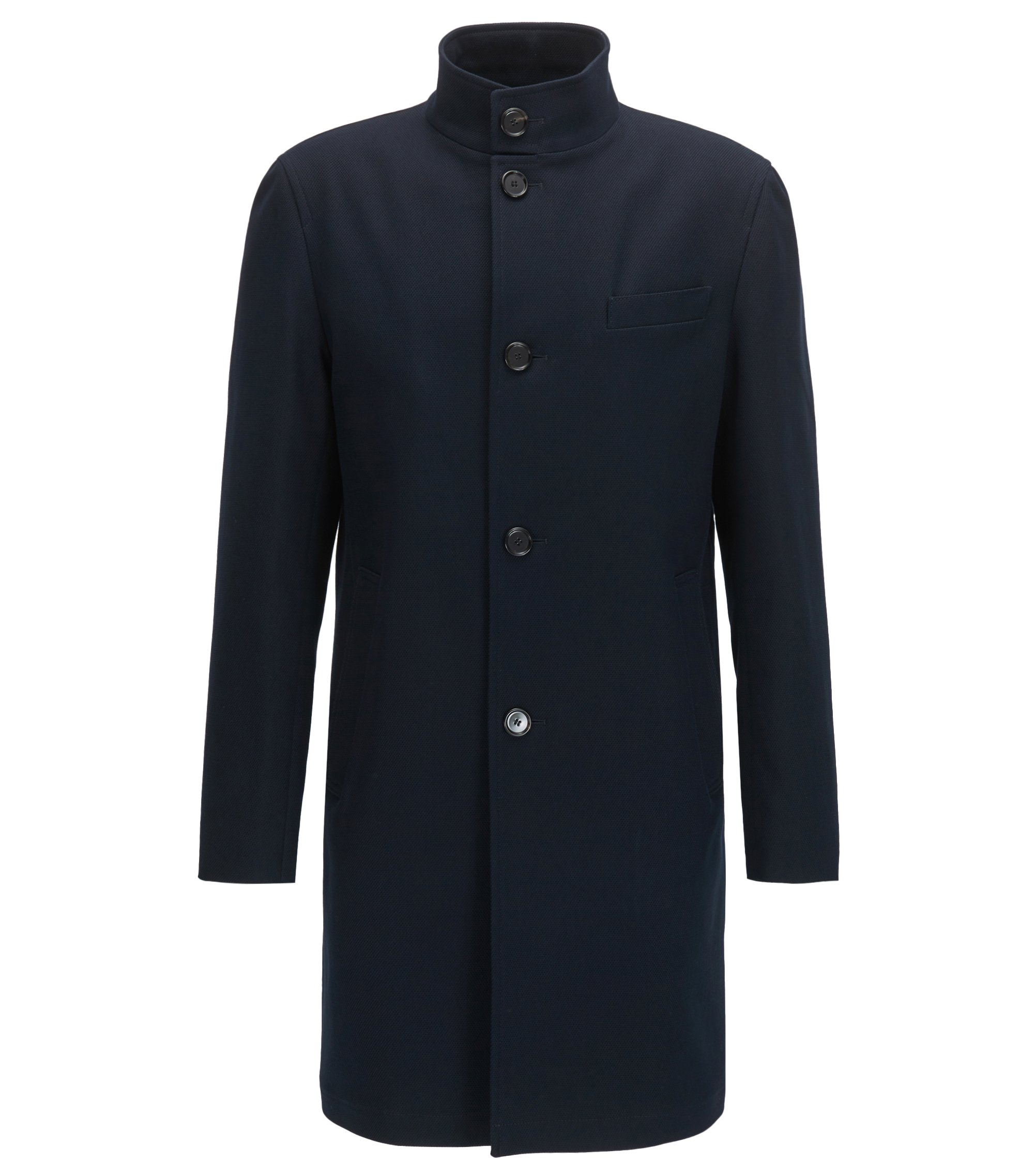 Stretch-cotton coat with stand collar, Dark Blue