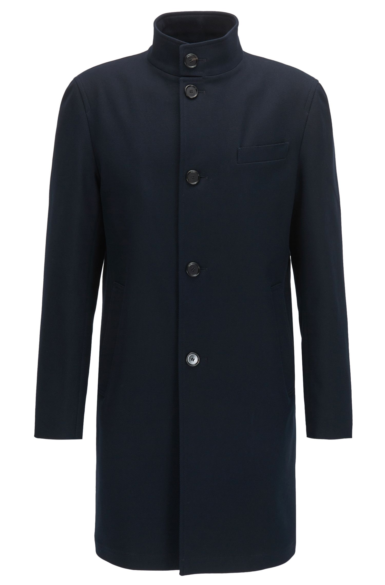 Stretch-cotton coat with stand collar