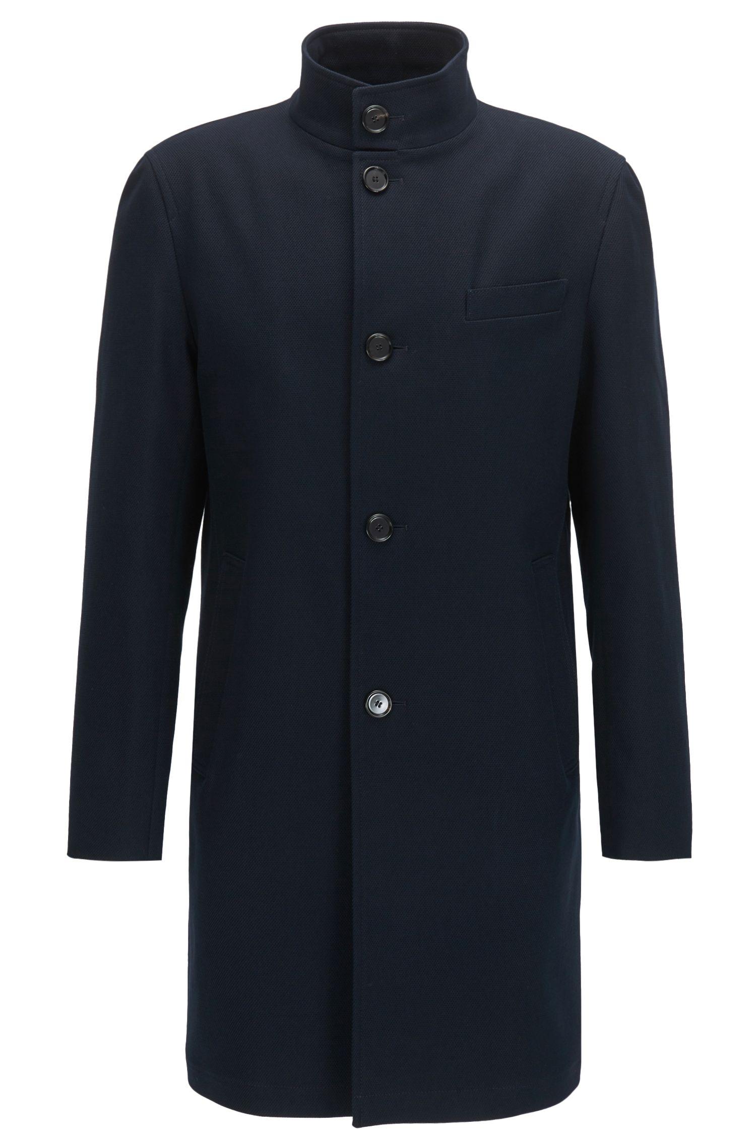 Manteau à col montant en coton stretch