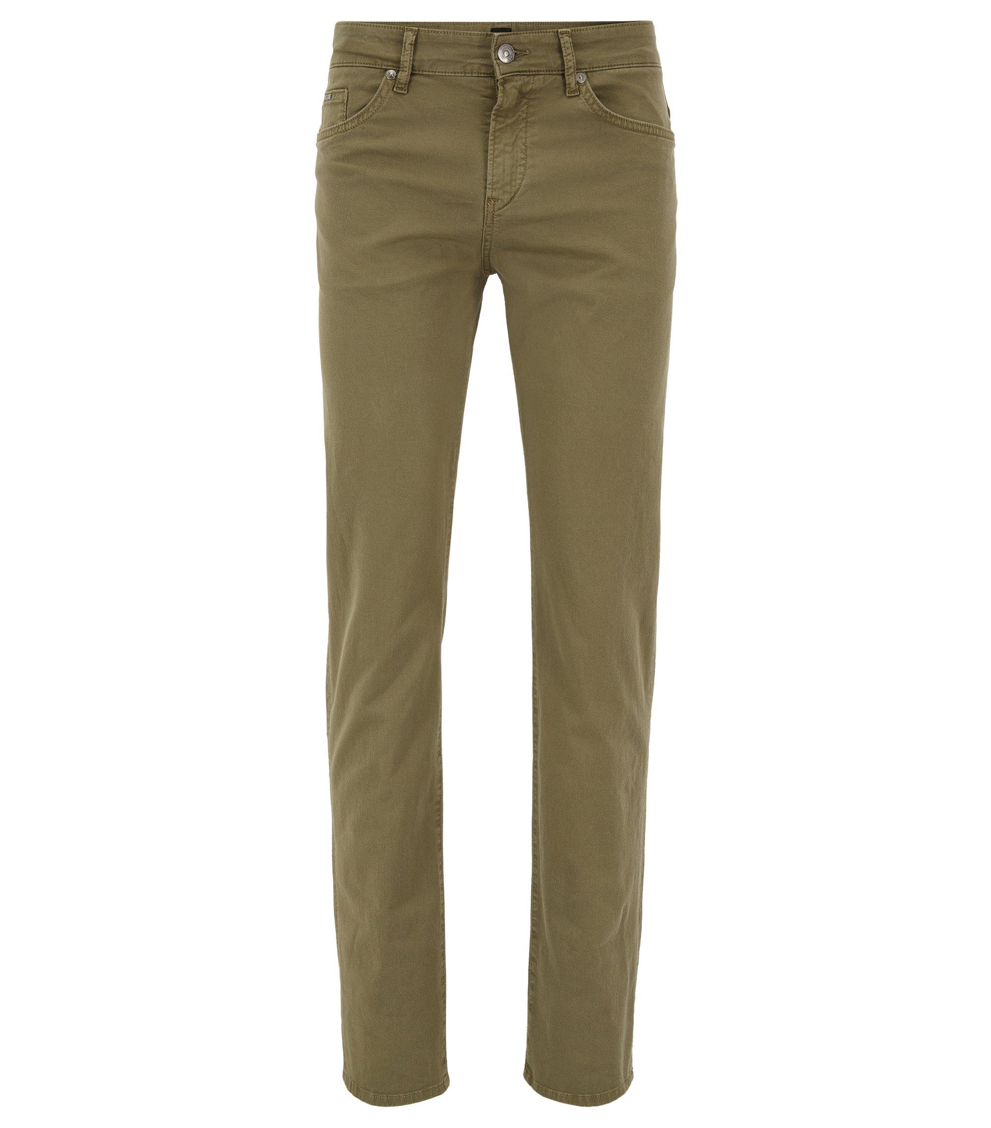 Slim-fit garment-dyed jeans in stretch-cotton twill, Dark Green
