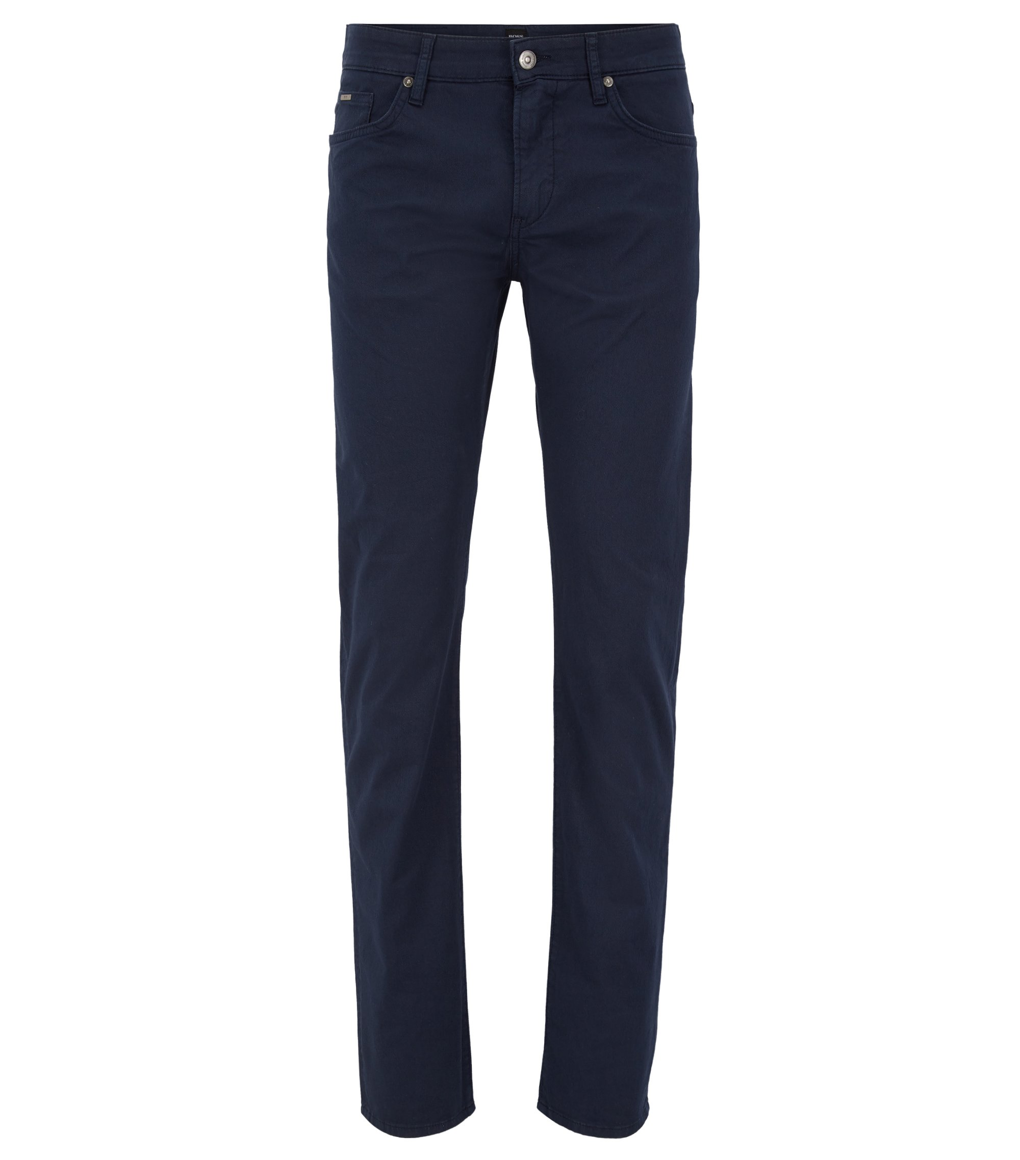 Slim-fit garment-dyed jeans in stretch-cotton twill, Dark Blue