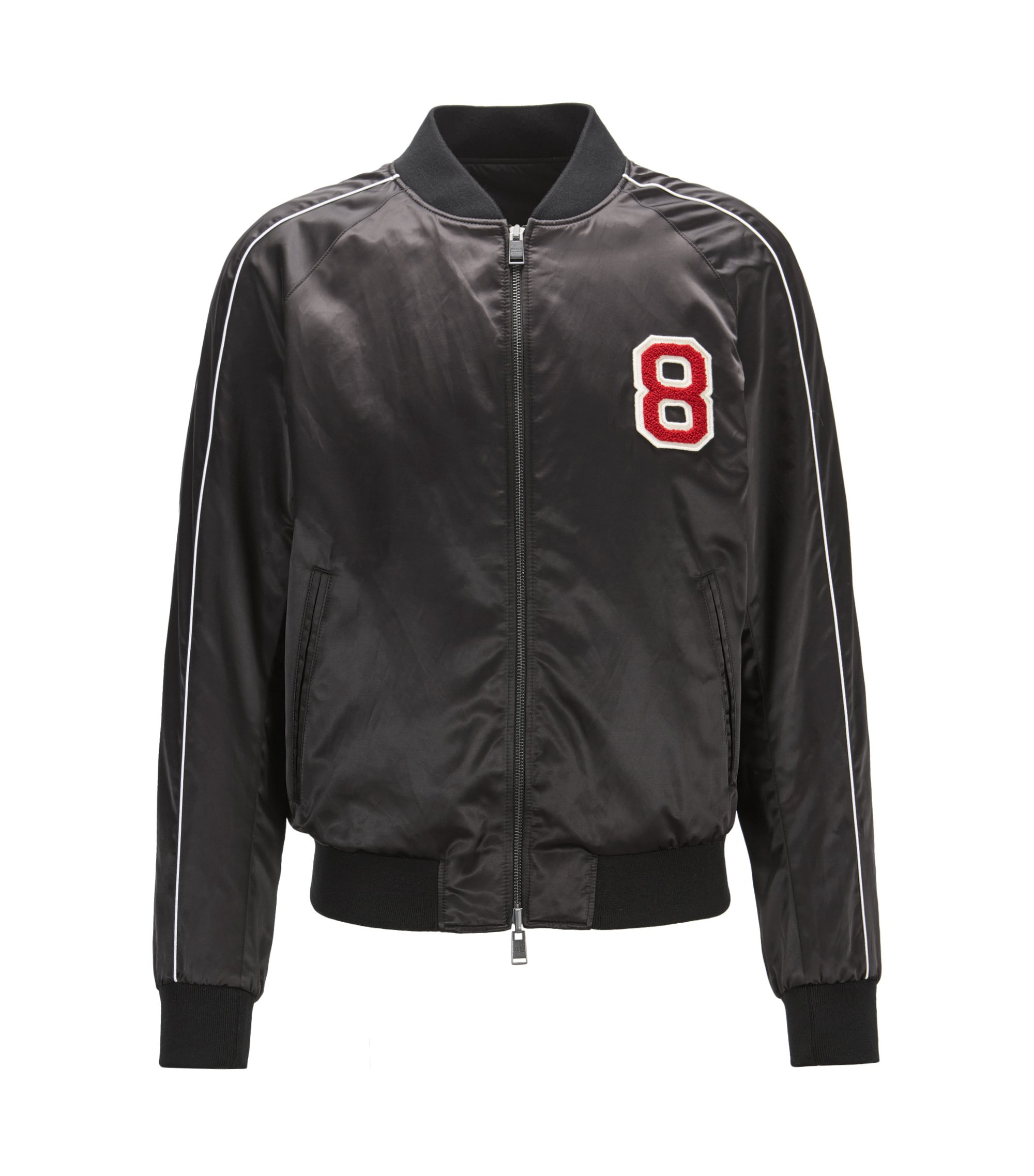 Reversible satin bomber jacket with embroidered race car patch, Black