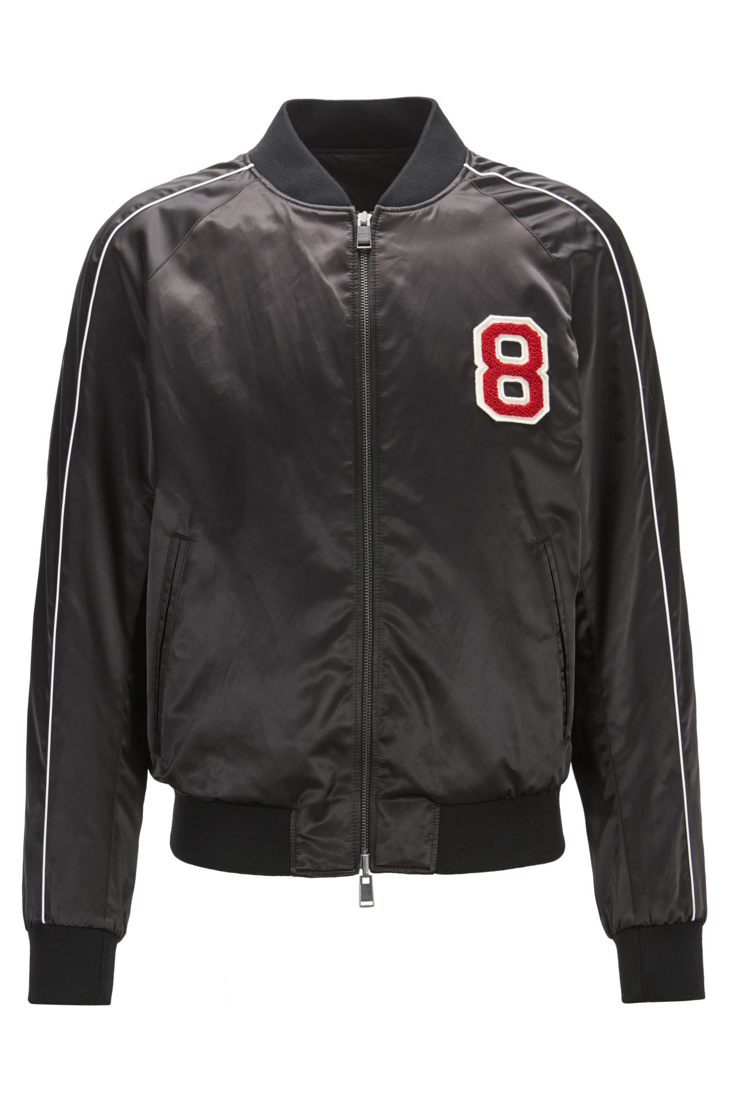 Reversible satin bomber jacket with embroidered race car patch