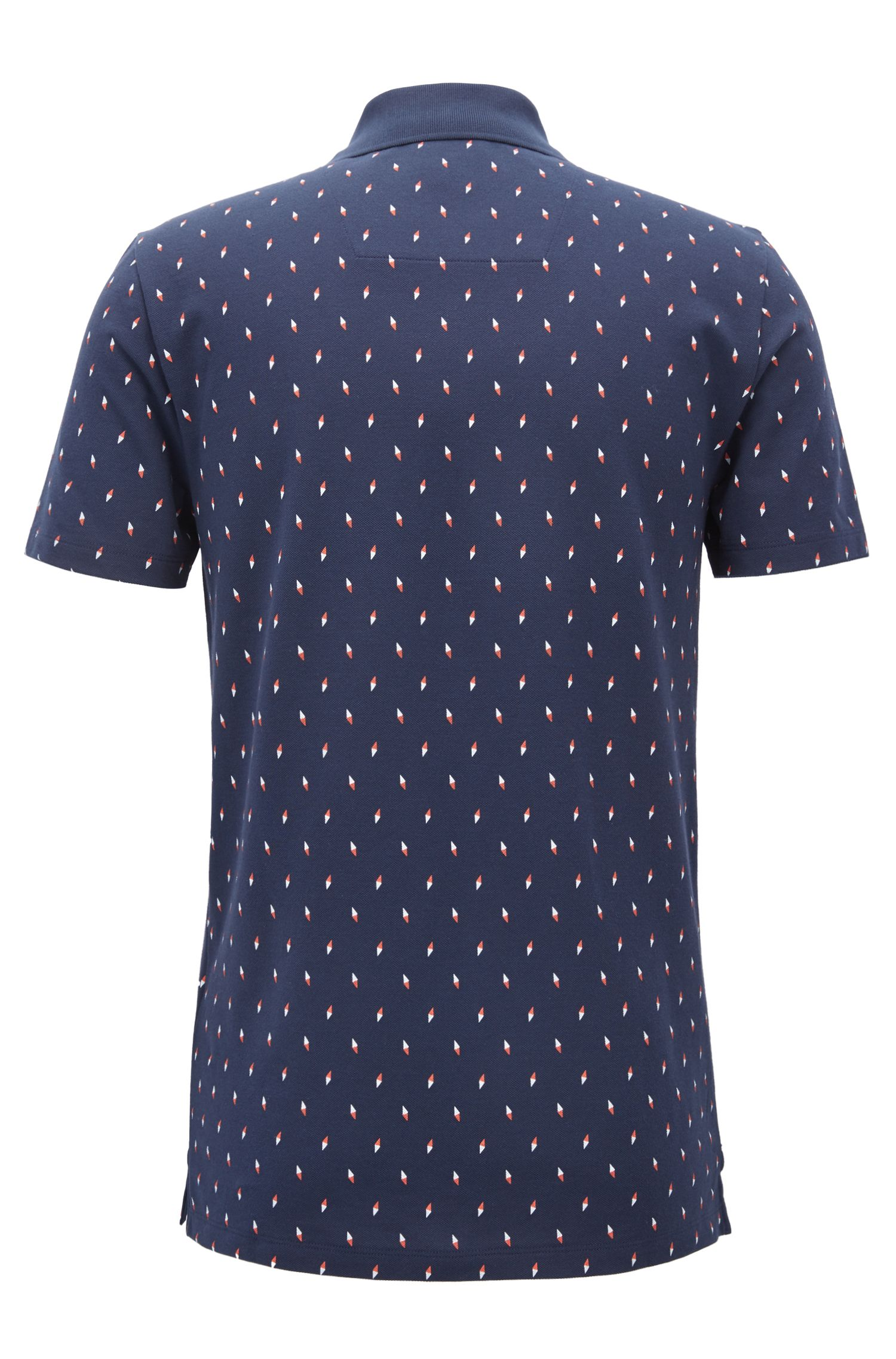 Slim-fit polo shirt in printed cotton piqué