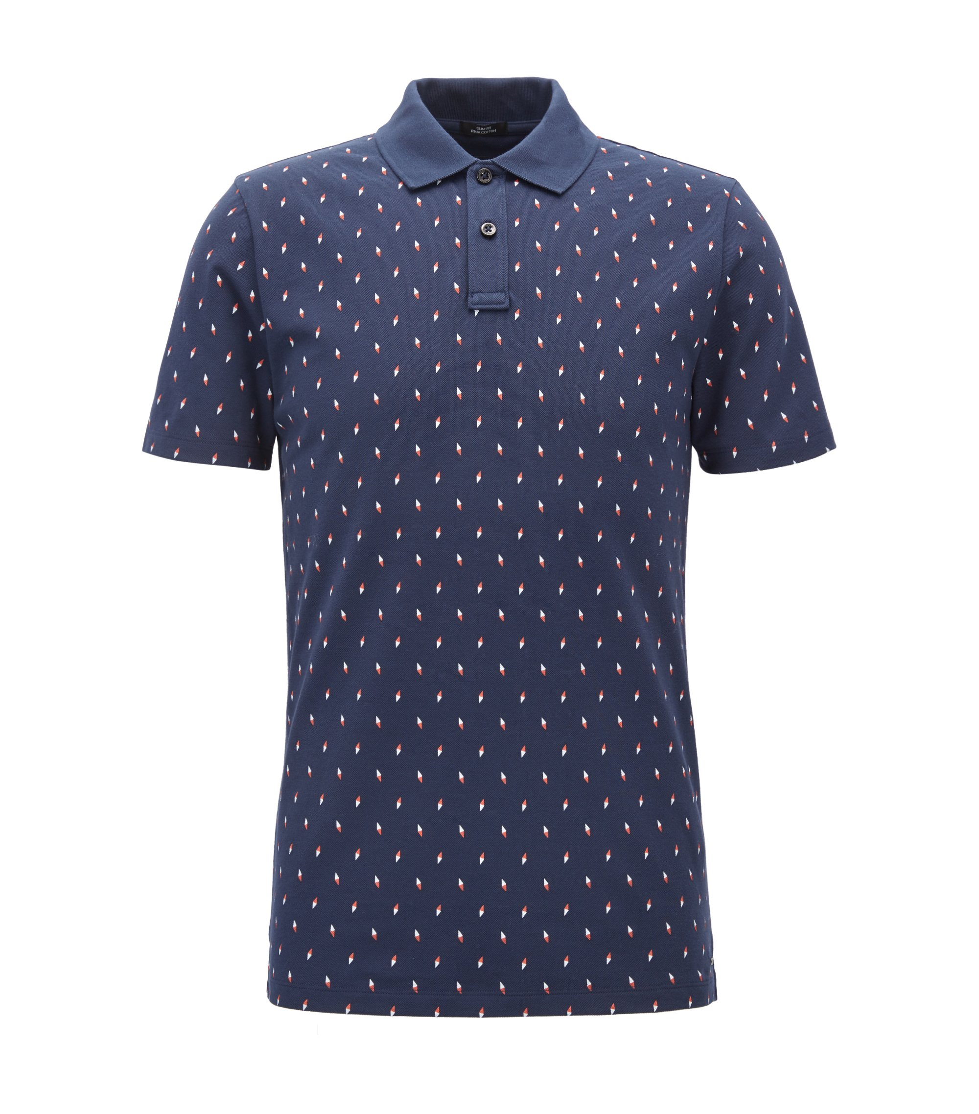 Slim-fit polo shirt in printed cotton piqué, Dark Blue