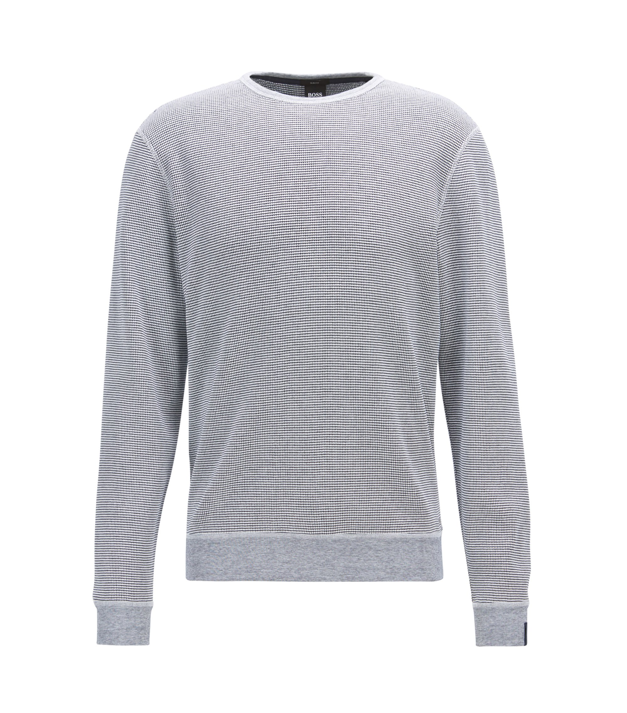 Crew-neck sweater in waffle cotton, Dark Blue