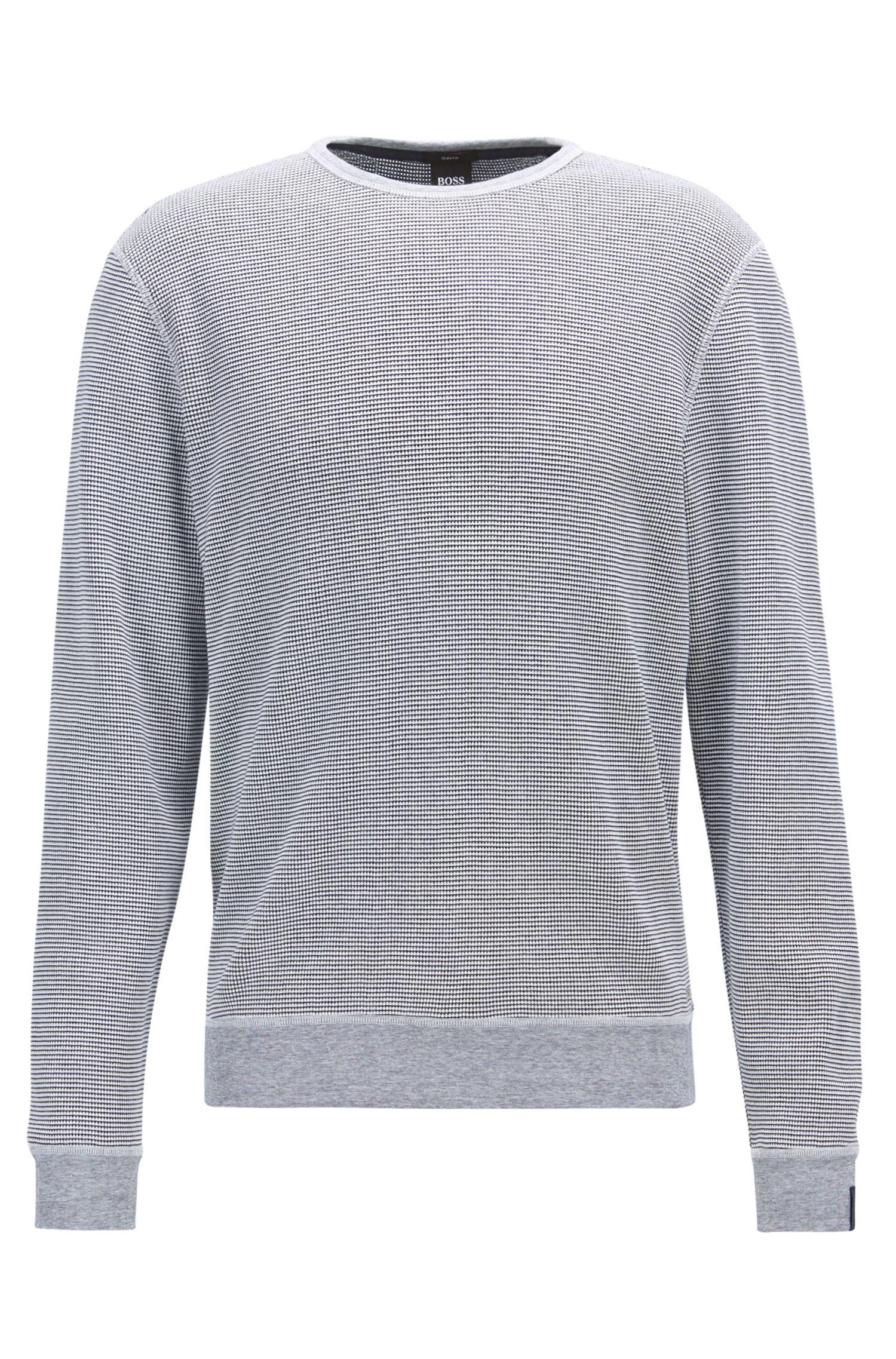 Pullover aus Baumwolle mit Rundhalsausschnitt und Waffelmuster