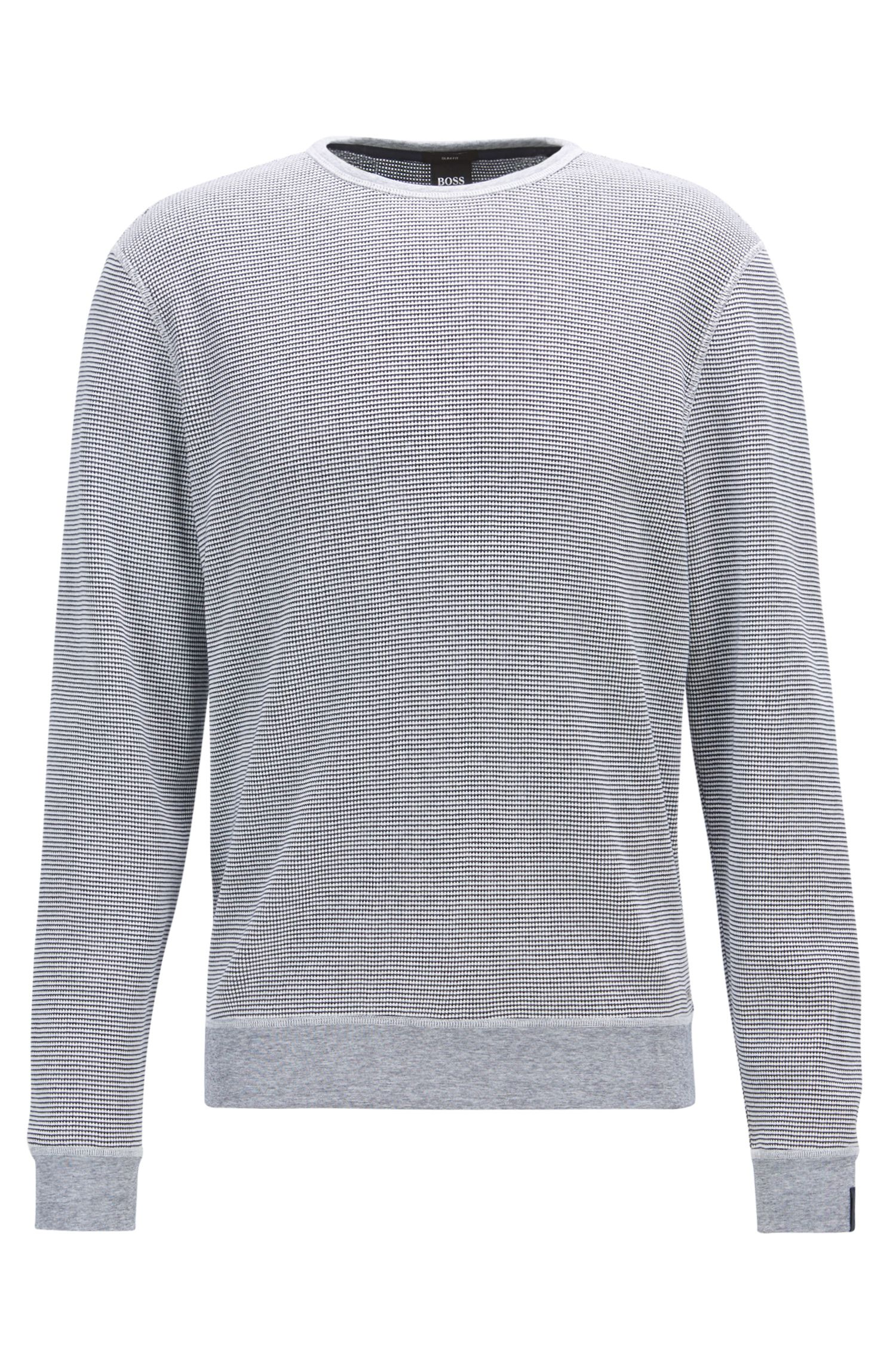 Crew-neck sweater in waffle cotton
