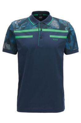 Slim-fit polo van gemerceriseerde katoenen jersey, Donkerblauw