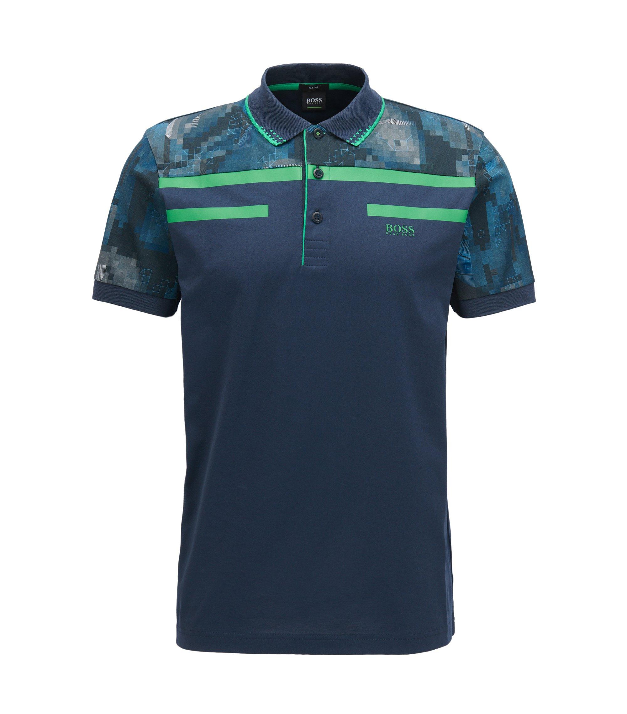 Polo Slim Fit en jersey de coton mercerisé, Bleu foncé