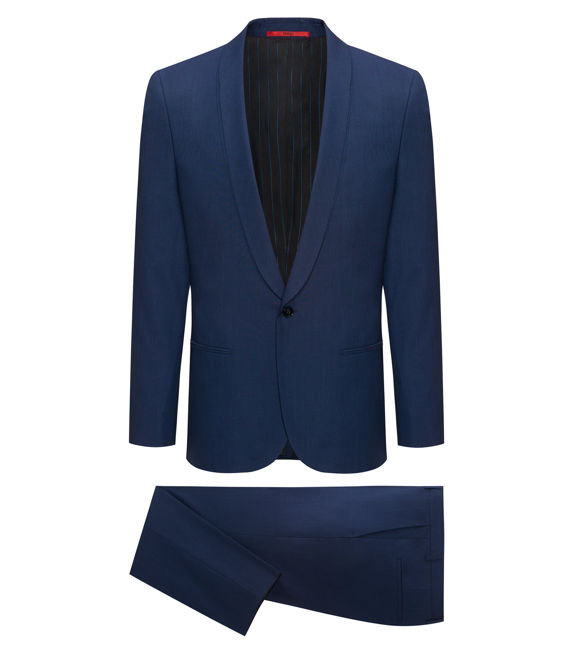 Smoking extra slim fit in misto lana vergine, Blu scuro