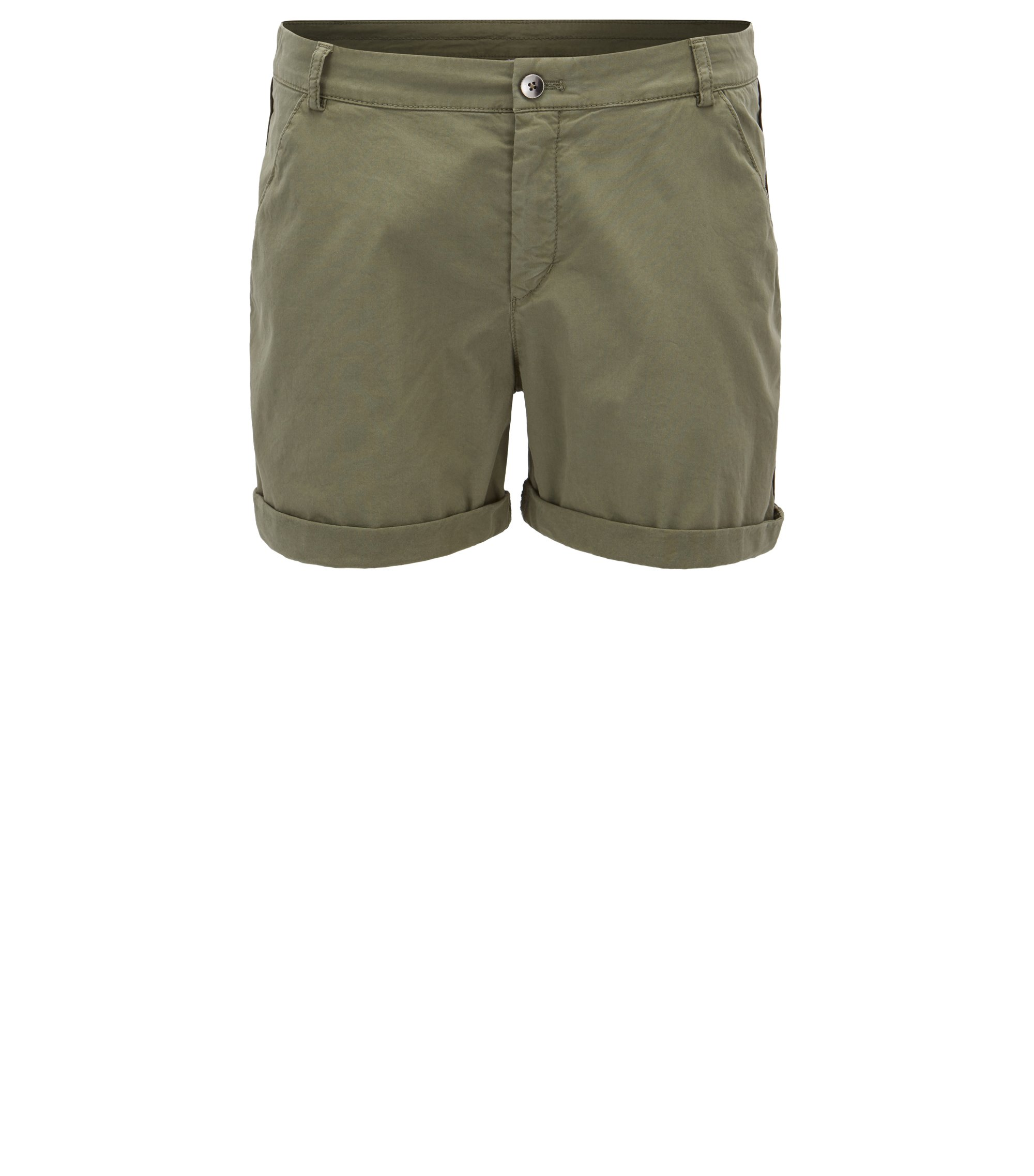 Relaxed-fit chino shorts in stretch cotton, Khaki
