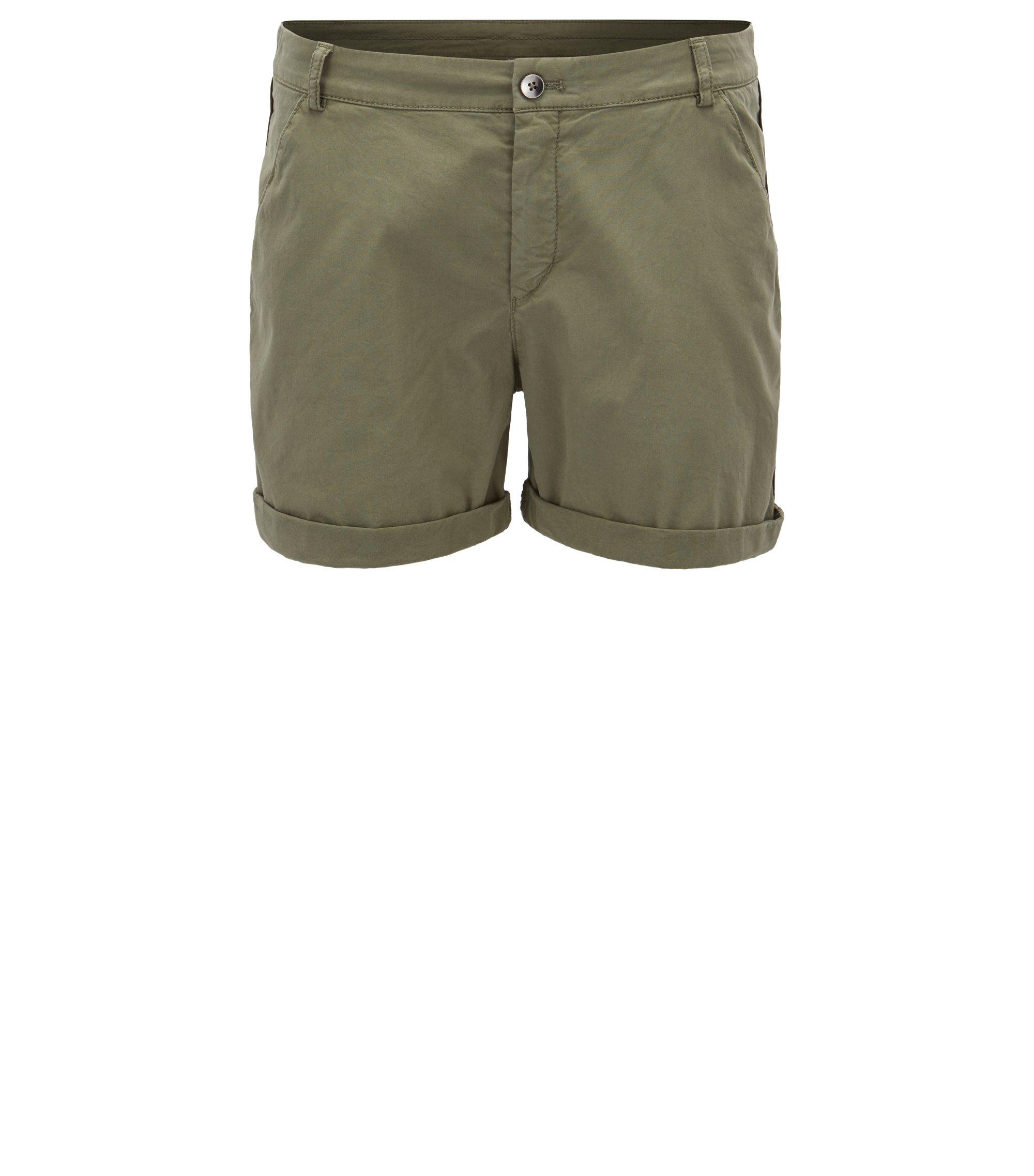 Relaxed-Fit Chino-Shorts aus elastischer Baumwolle, Khaki